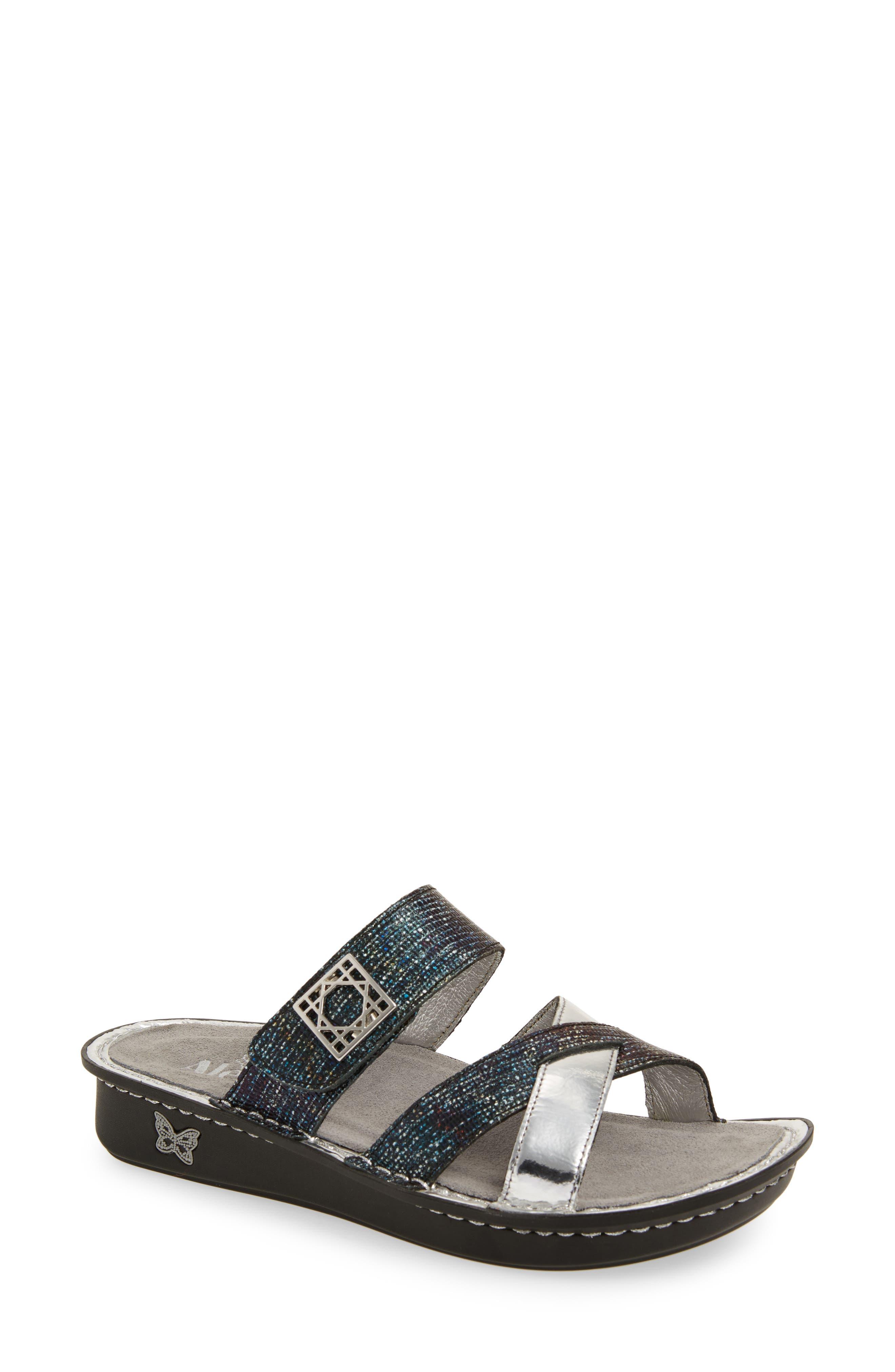 by PG Lite Victoriah Slide Sandal,                             Main thumbnail 1, color,                             Glimmer Glam Leather