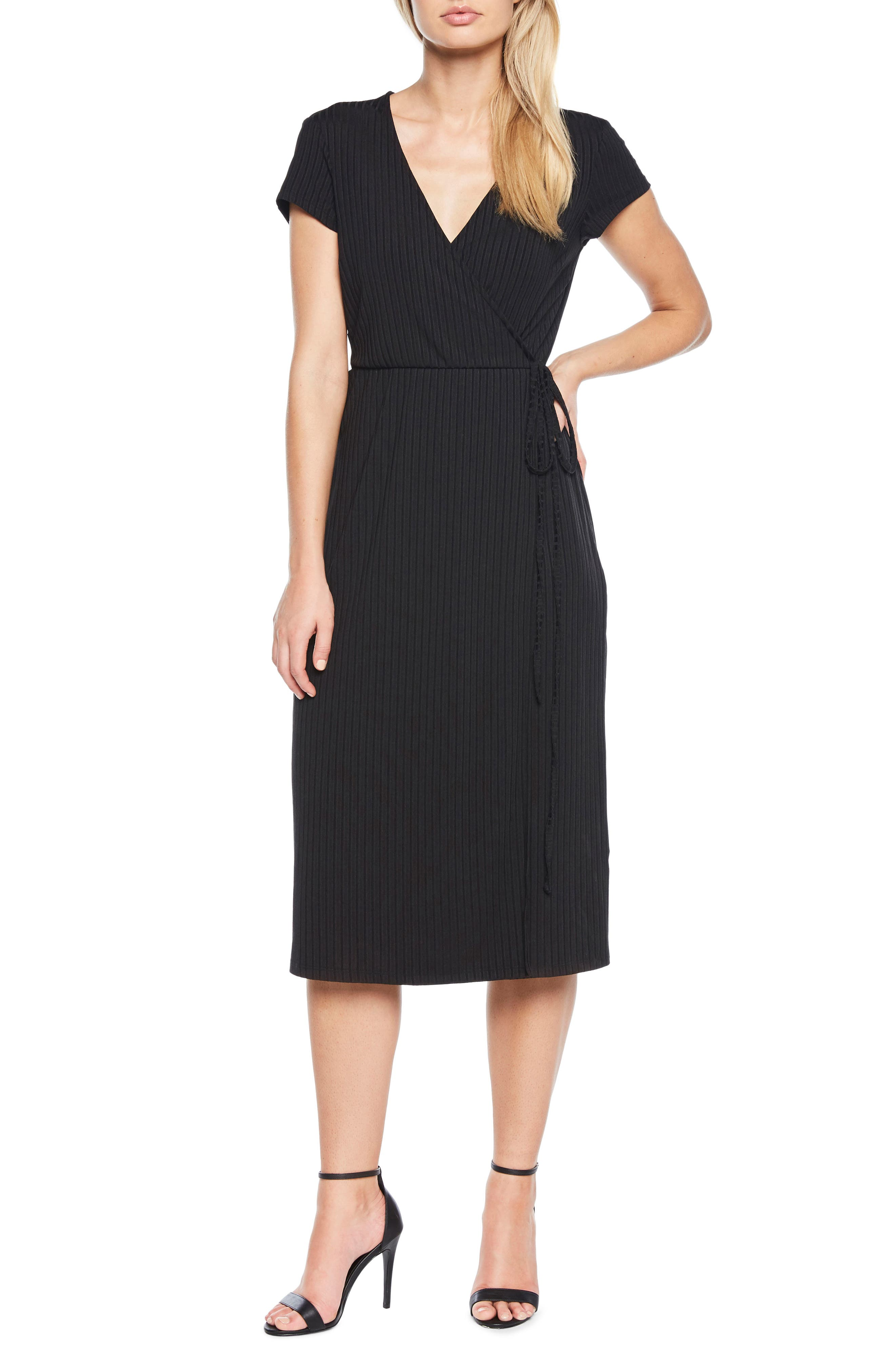 Stevie Wrap Dress,                             Main thumbnail 1, color,                             Black