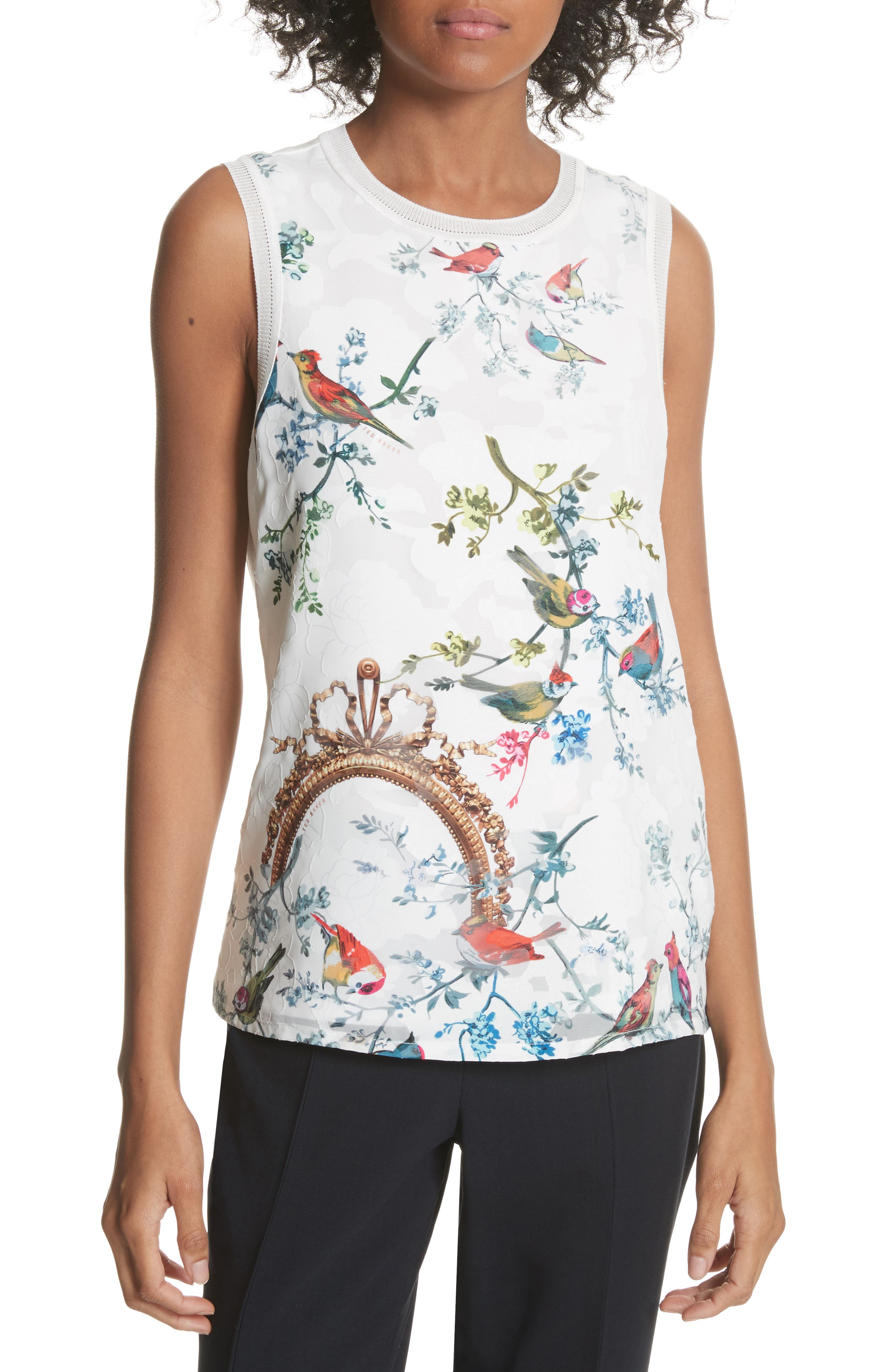 Opulent Fauna Woven Front Top,                         Main,                         color, White