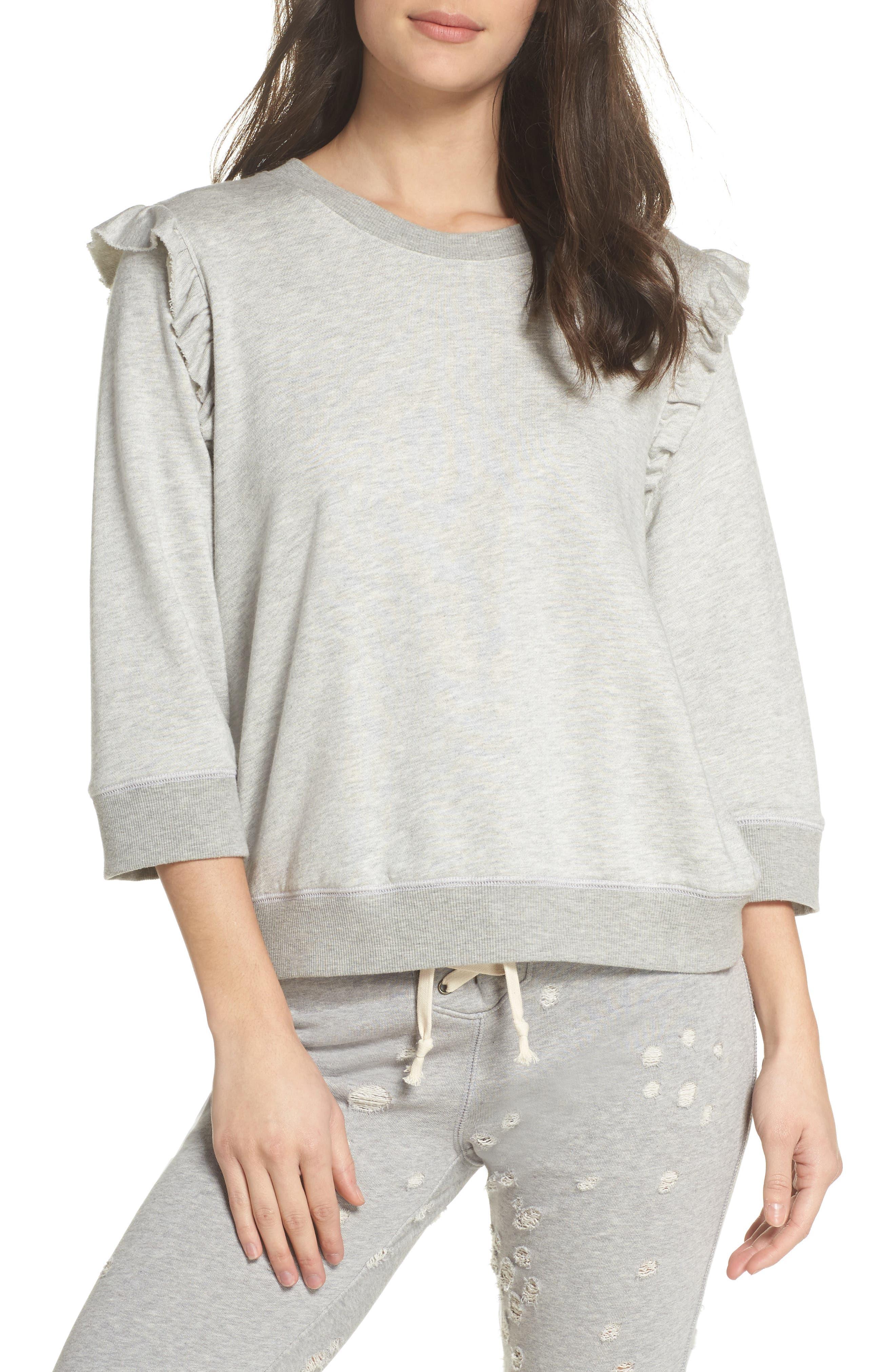 DAVID LERNER Ruffle Sweatshirt in Heather Grey