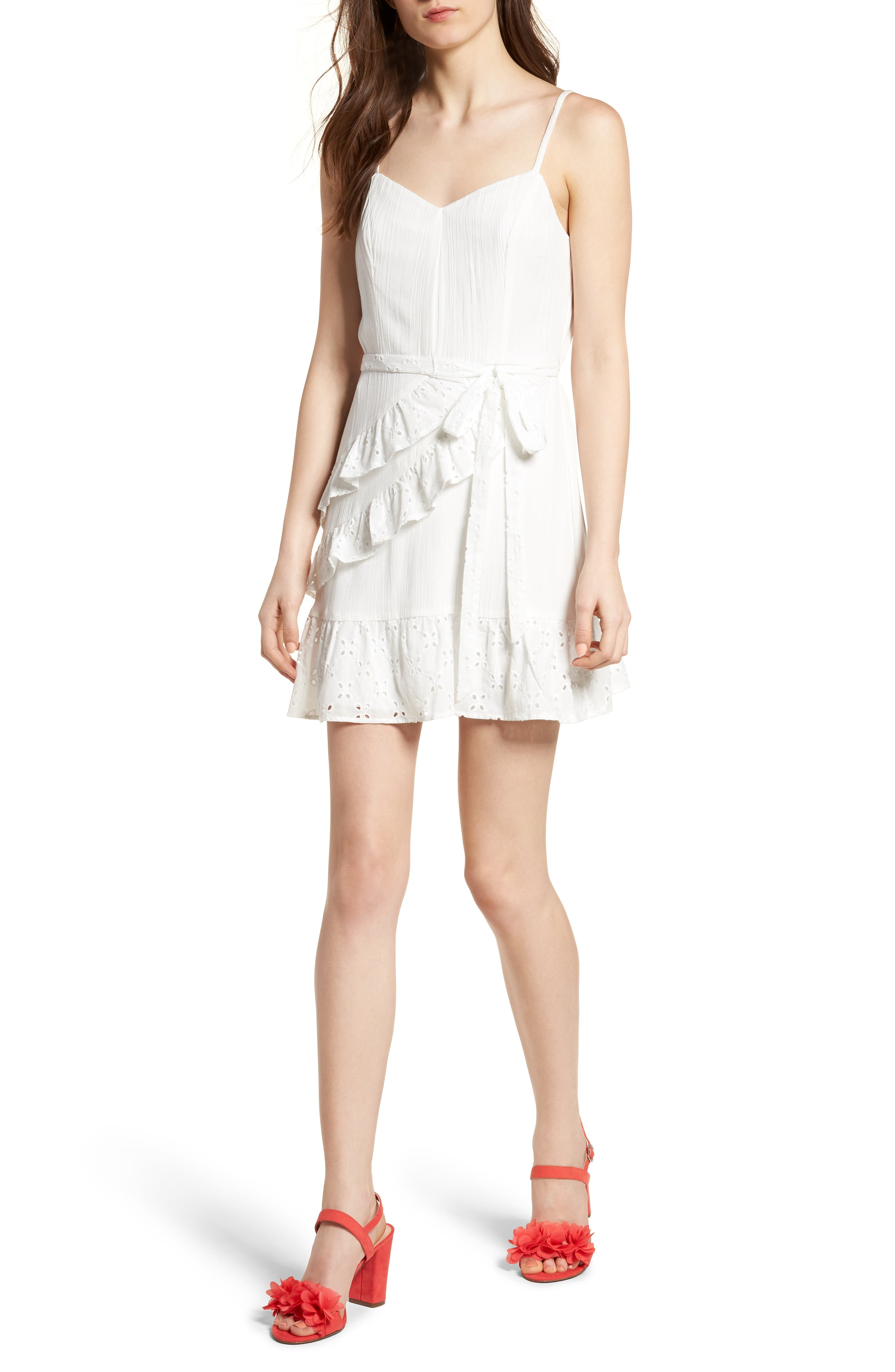 Ruffle Eyelet Minidress,                         Main,                         color, Milky White
