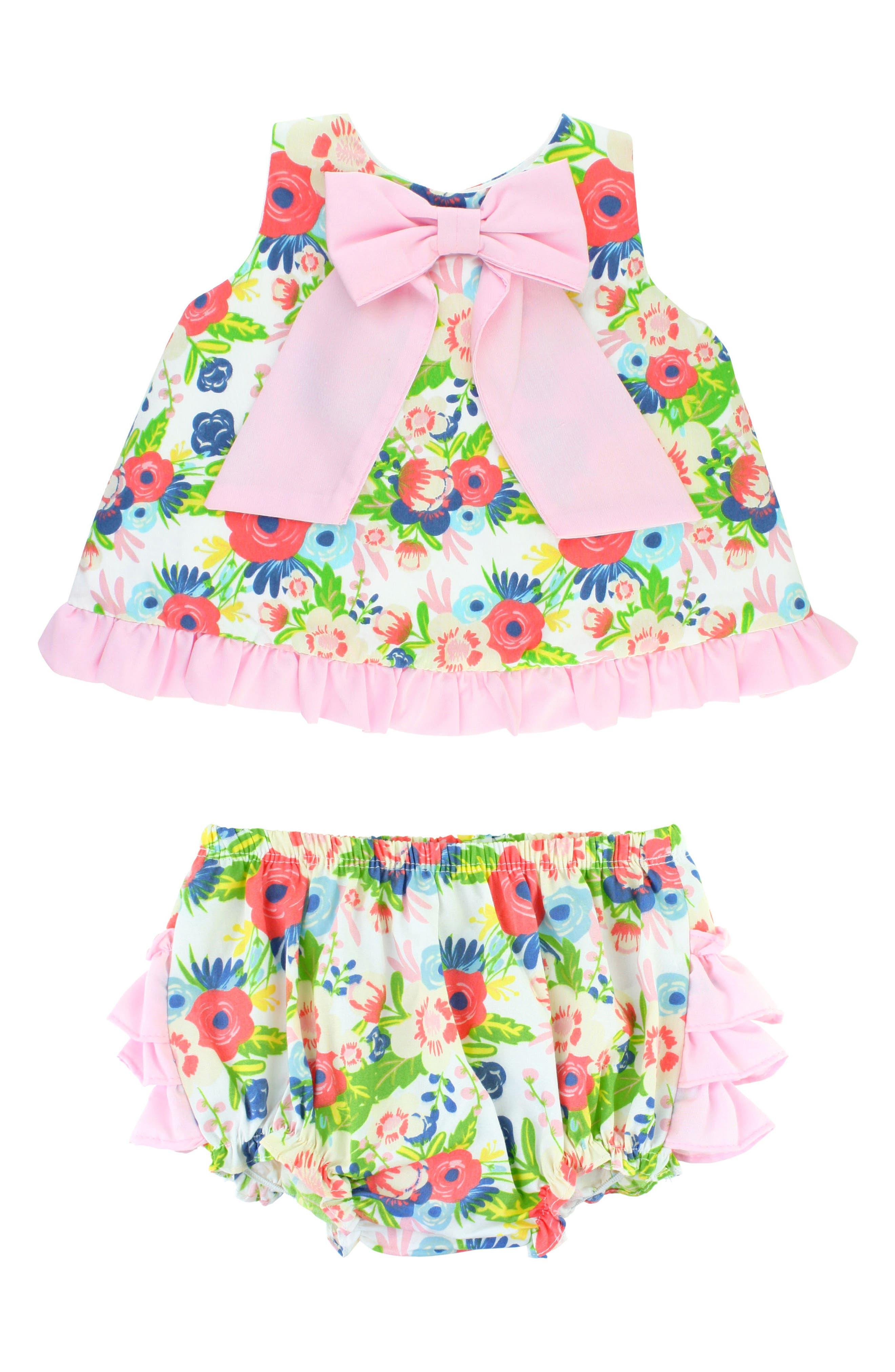 Alternate Image 1 Selected - RuffleButts English Garden Swing Top & Ruffle Bloomers Set (Baby Girls)