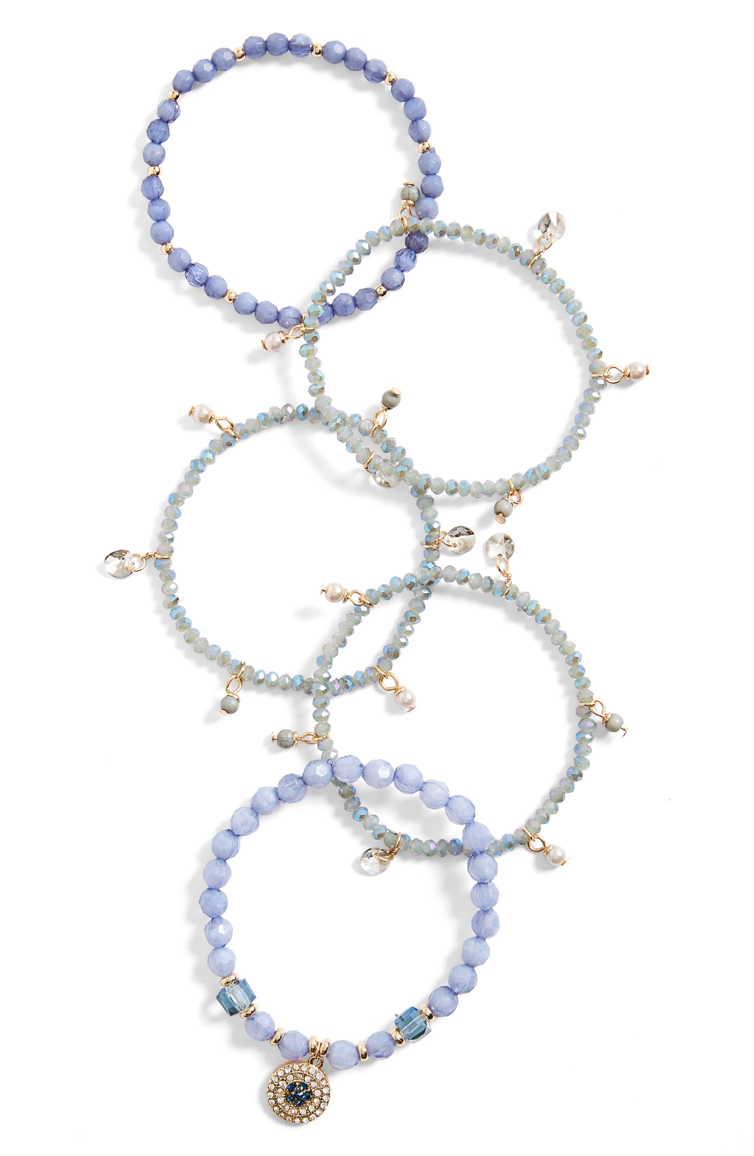 Set of 5 Stretch Bracelets,                         Main,                         color, Periwinkle