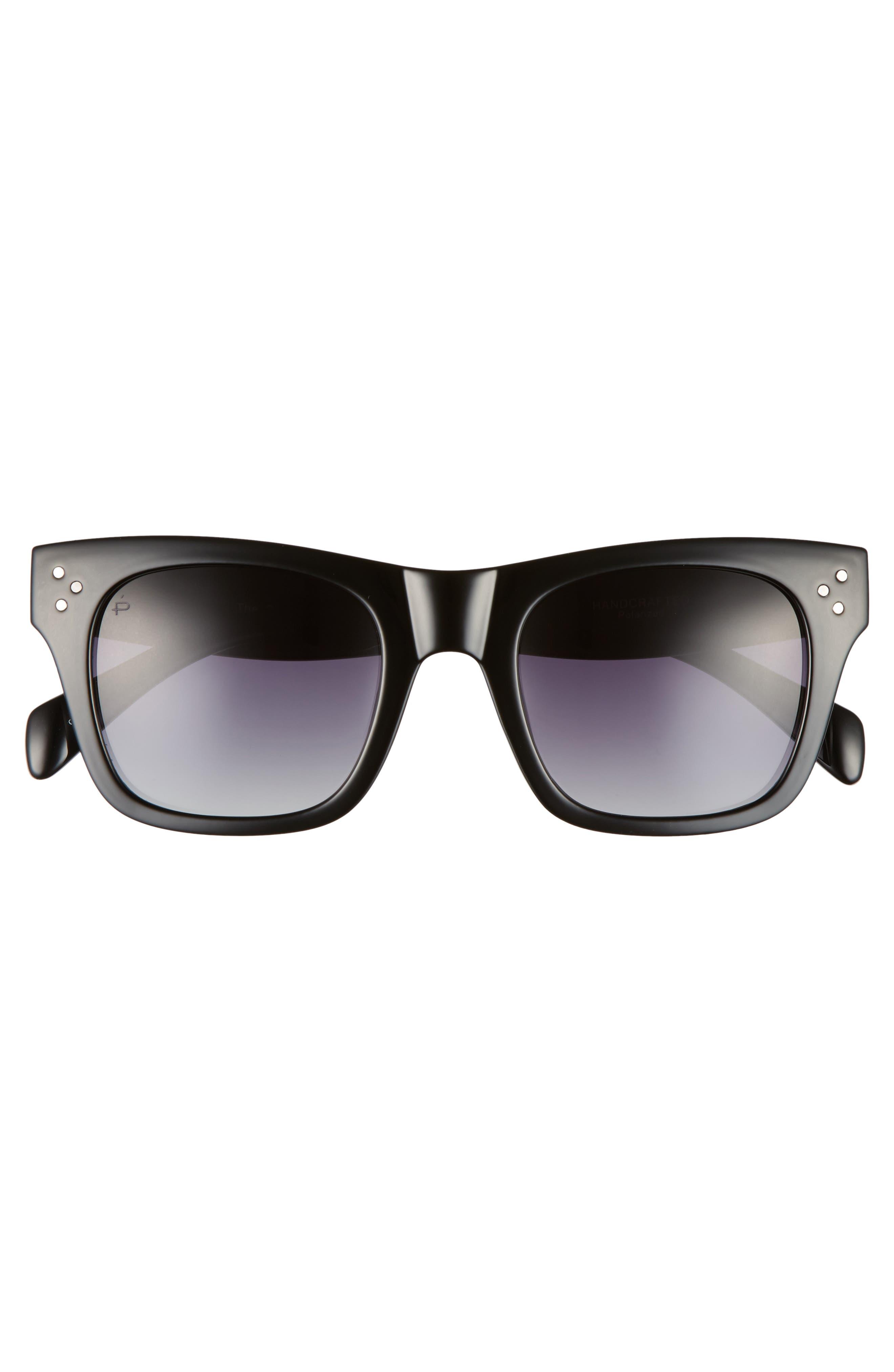 Privé Revaux The Classic 51mm Polarized Square Sunglasses,                             Alternate thumbnail 5, color,                             Black