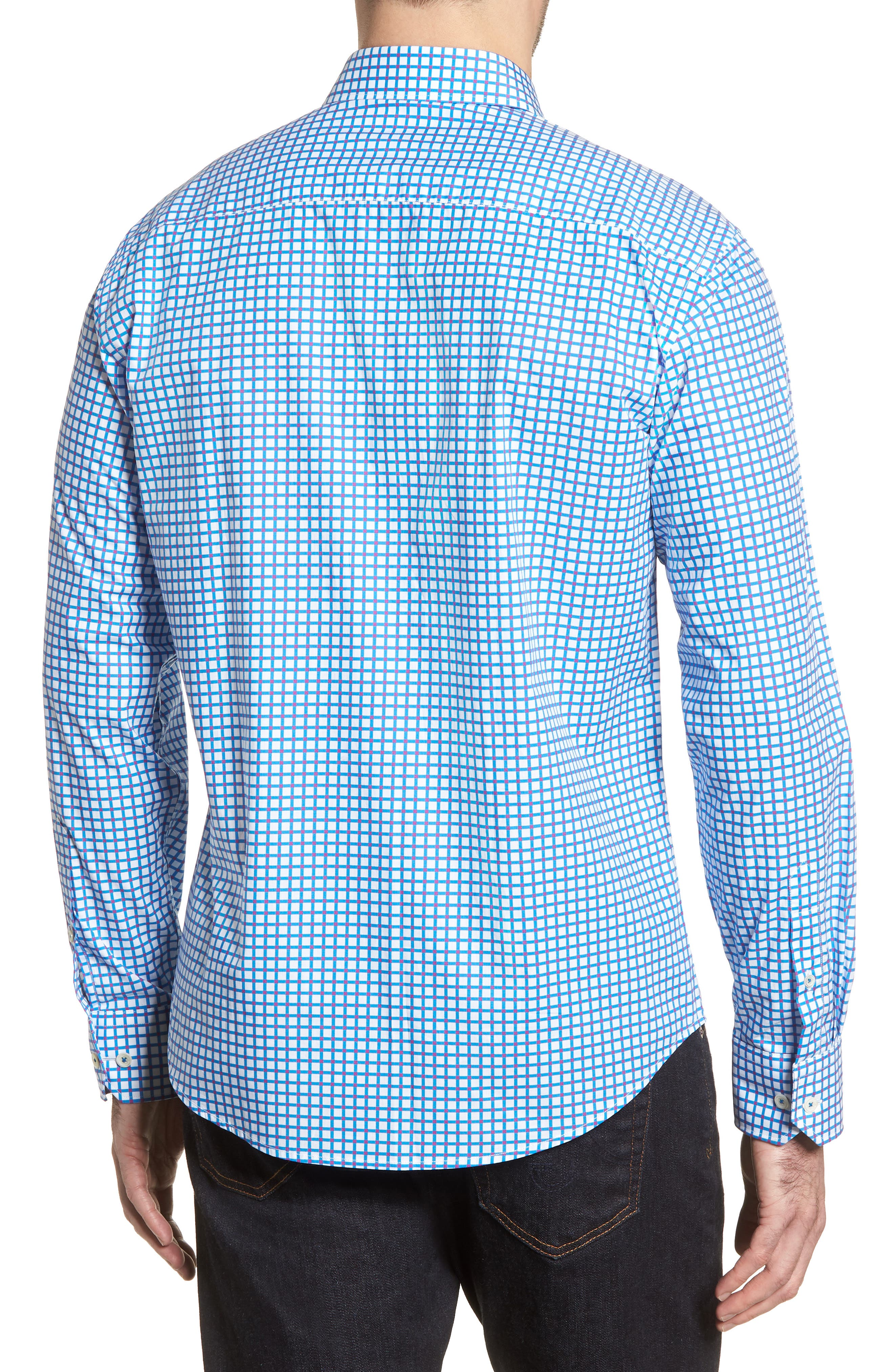 Classic Fit Dot Check Sport Shirt,                             Alternate thumbnail 3, color,                             Turquoise