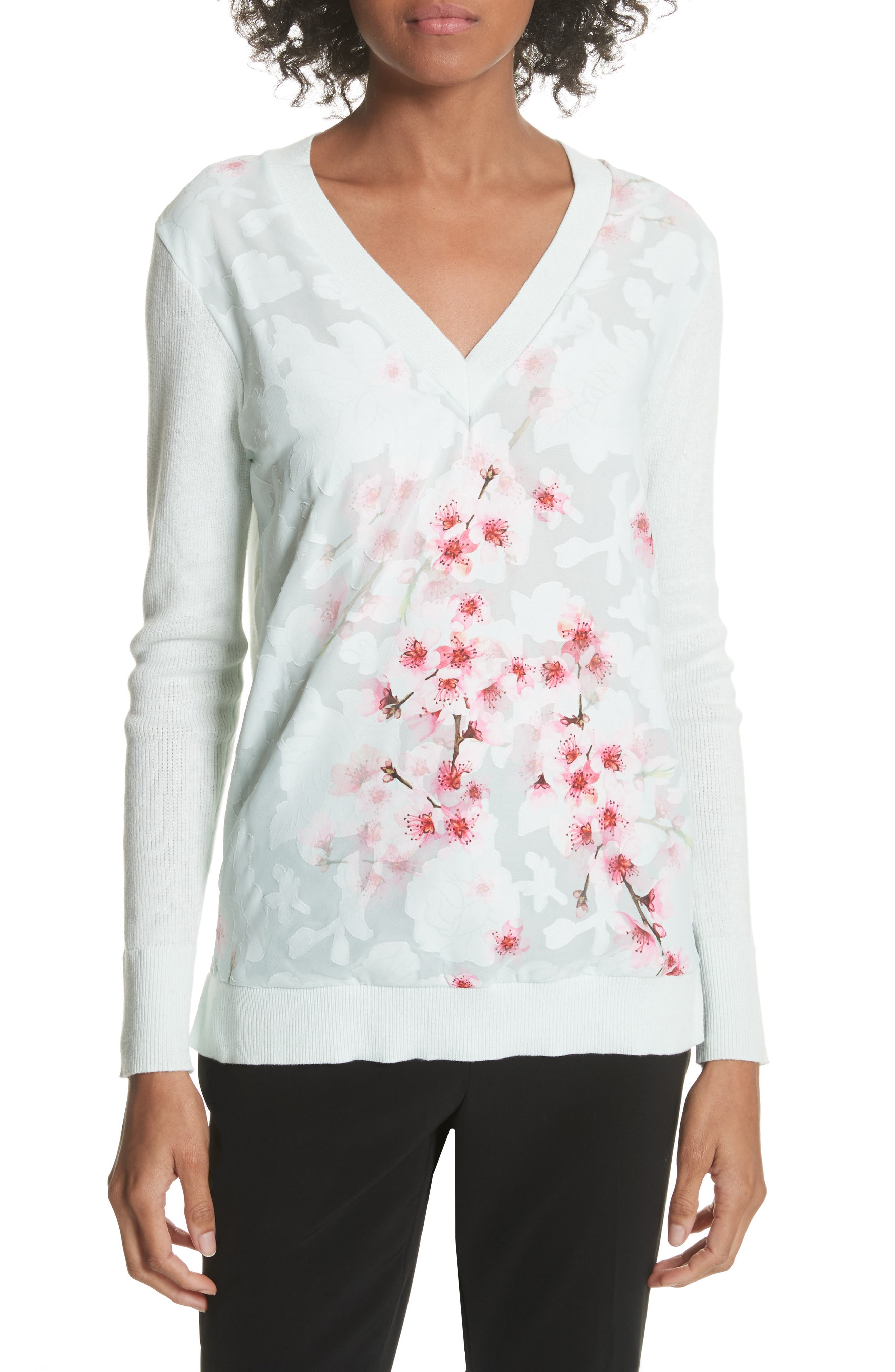 Soft Blossom Burnout Front Sweater,                             Main thumbnail 1, color,                             Mint