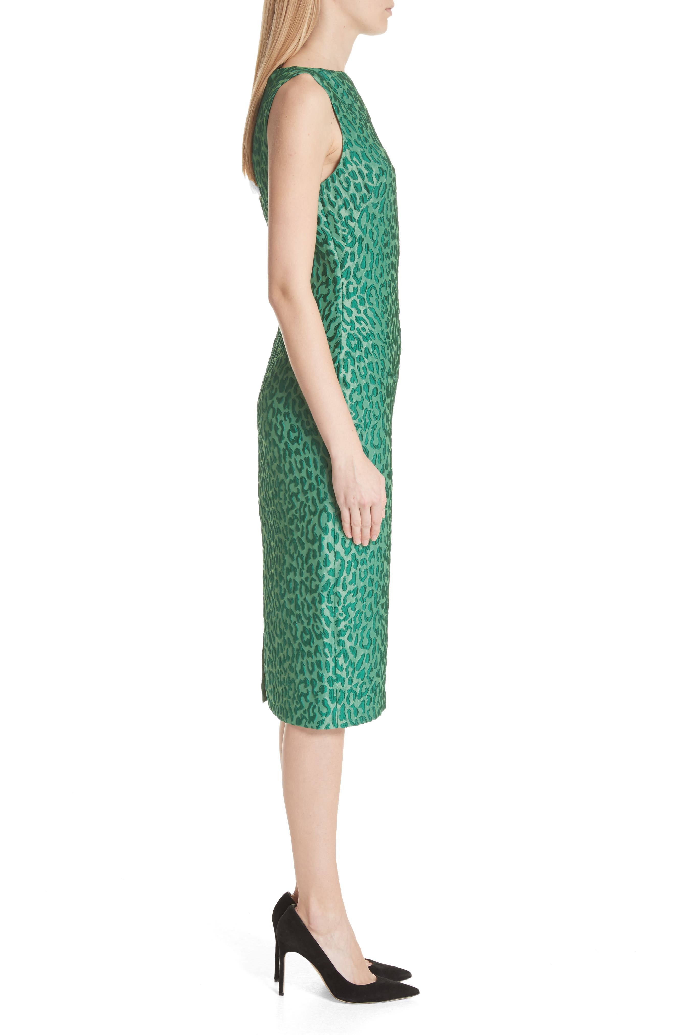 Leopard Jacquard Sheath Dress,                             Alternate thumbnail 3, color,                             Green