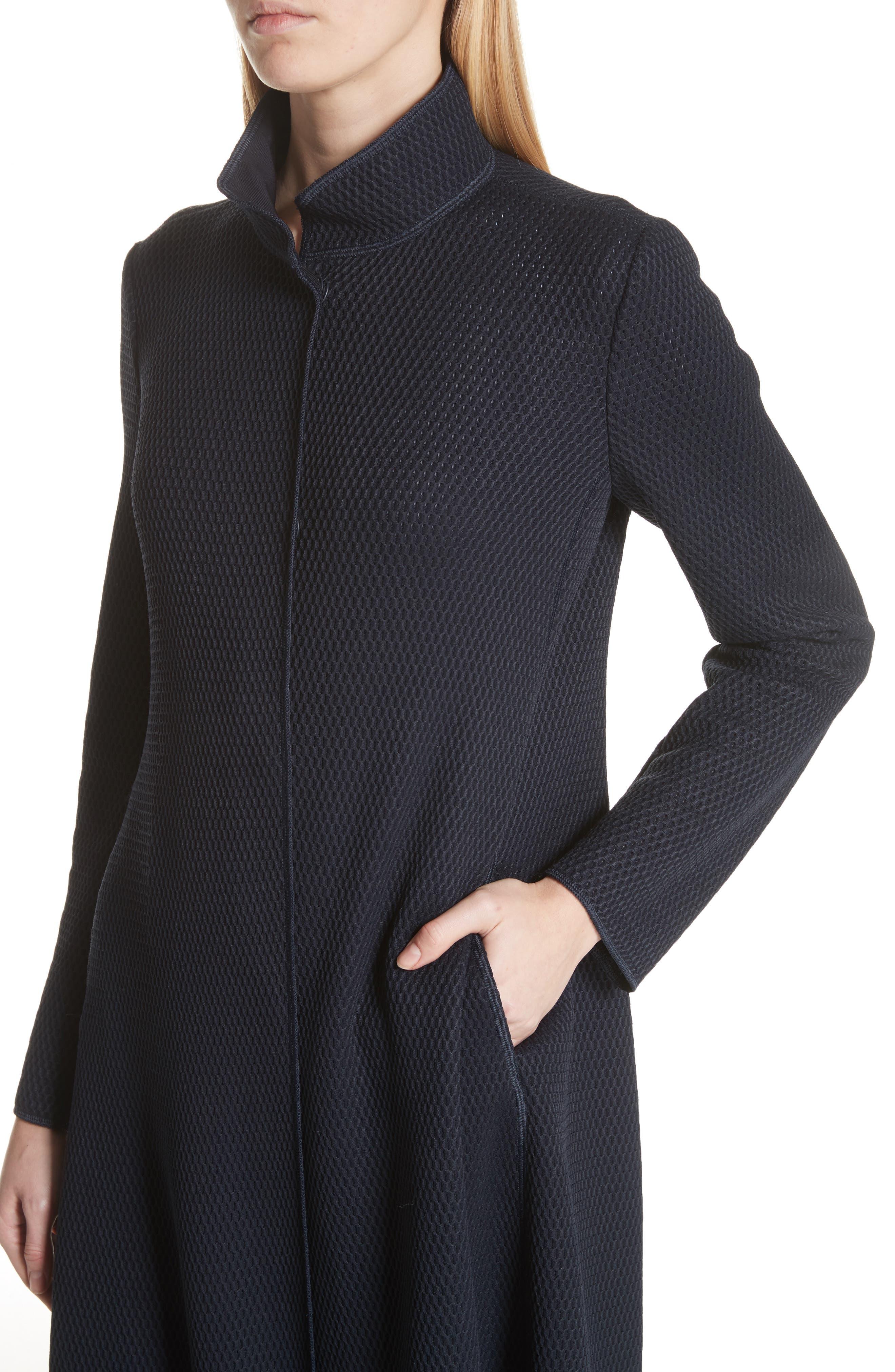 Honeycomb Knit Jersey Coat,                             Alternate thumbnail 4, color,                             Navy