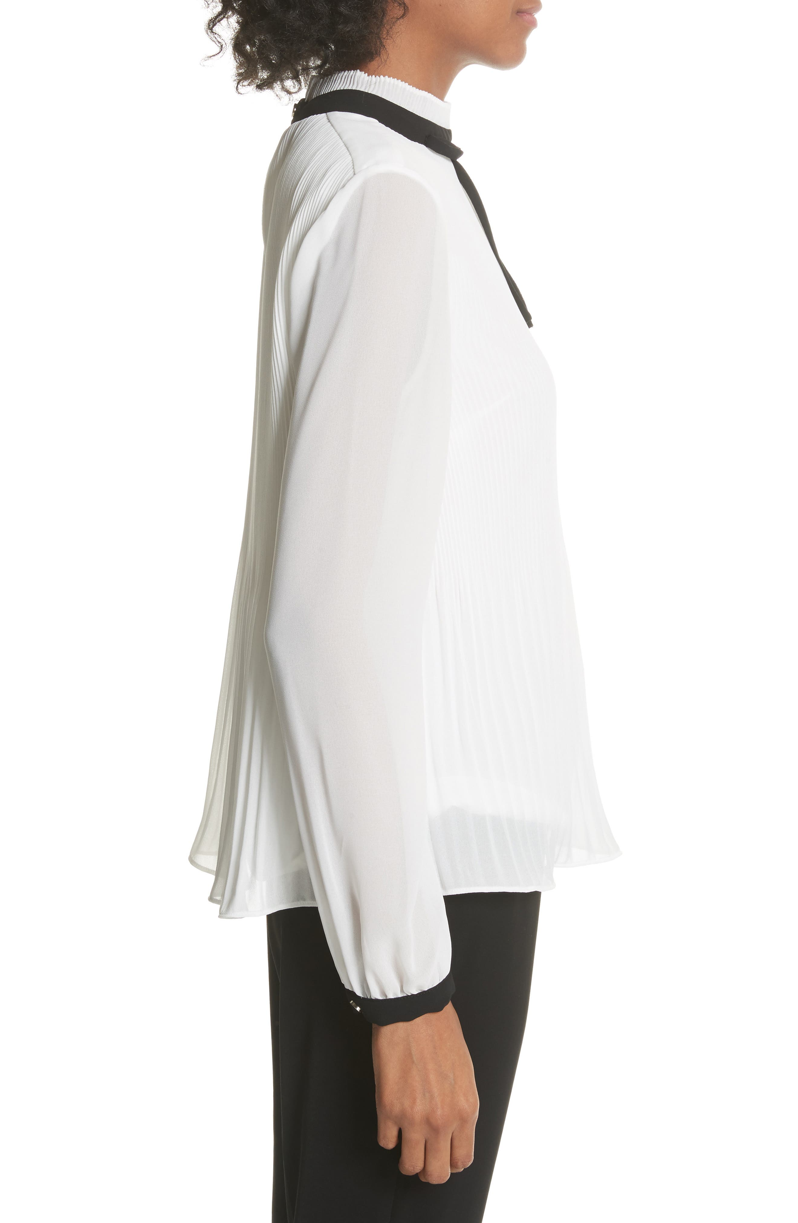Pleated High Neck Chiffon Top,                             Alternate thumbnail 3, color,                             Natural