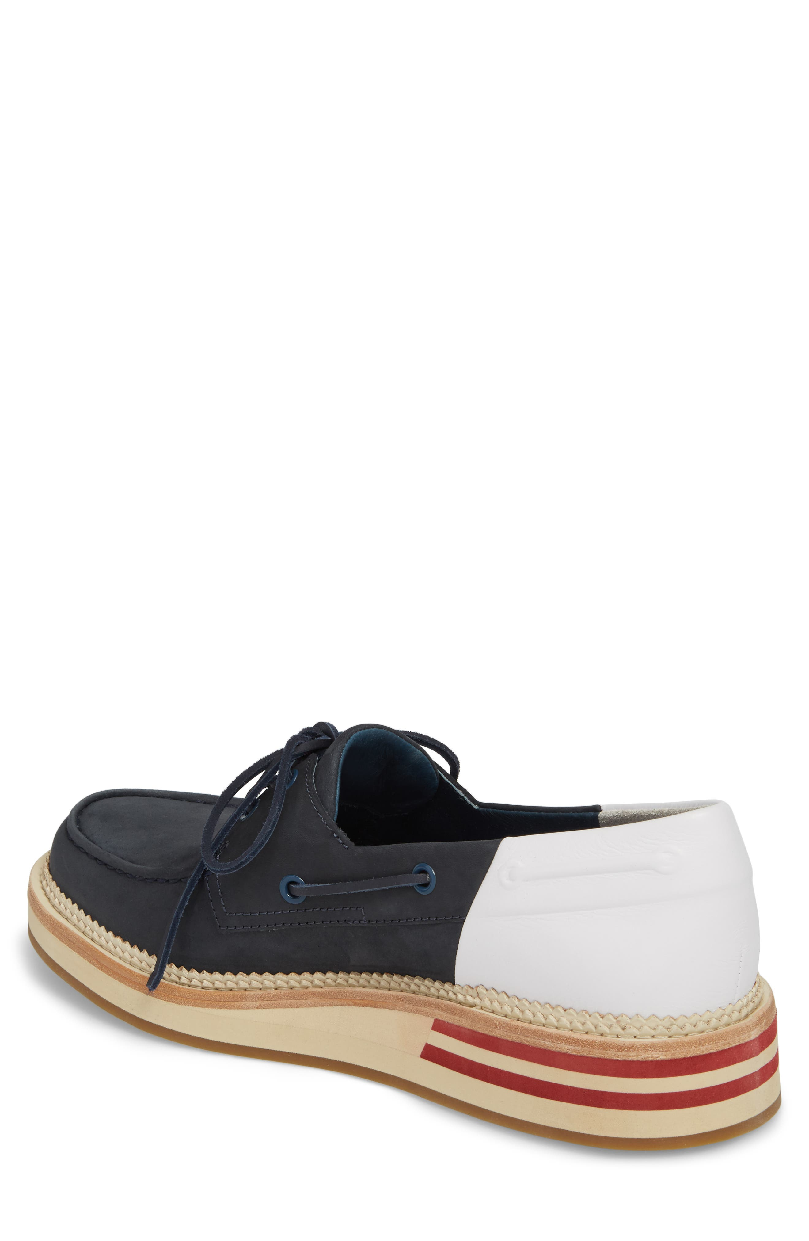 Cloud Colorblocked Boat Shoe,                             Alternate thumbnail 2, color,                             Navy/ White