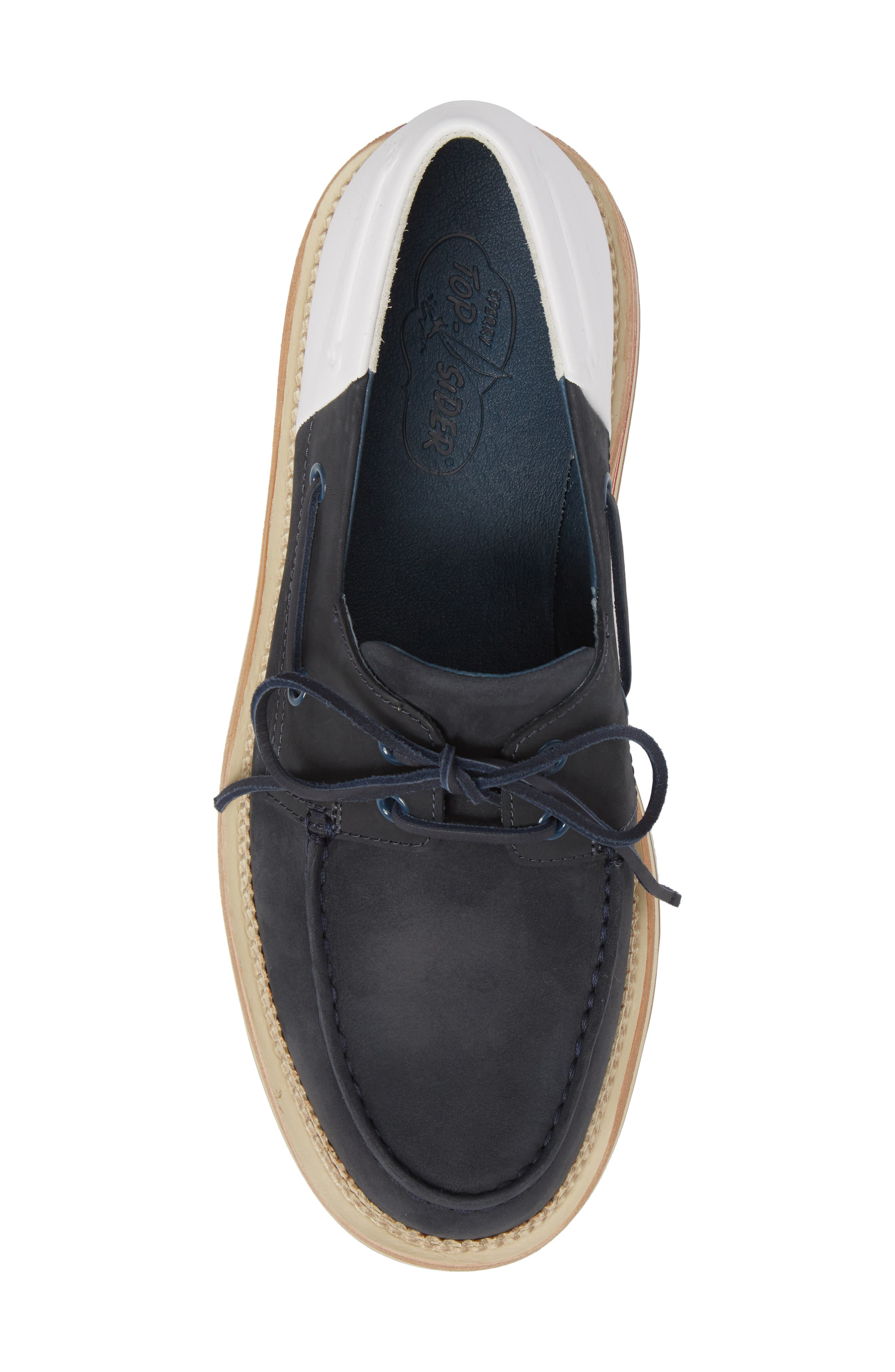 Cloud Colorblocked Boat Shoe,                             Alternate thumbnail 5, color,                             Navy/ White