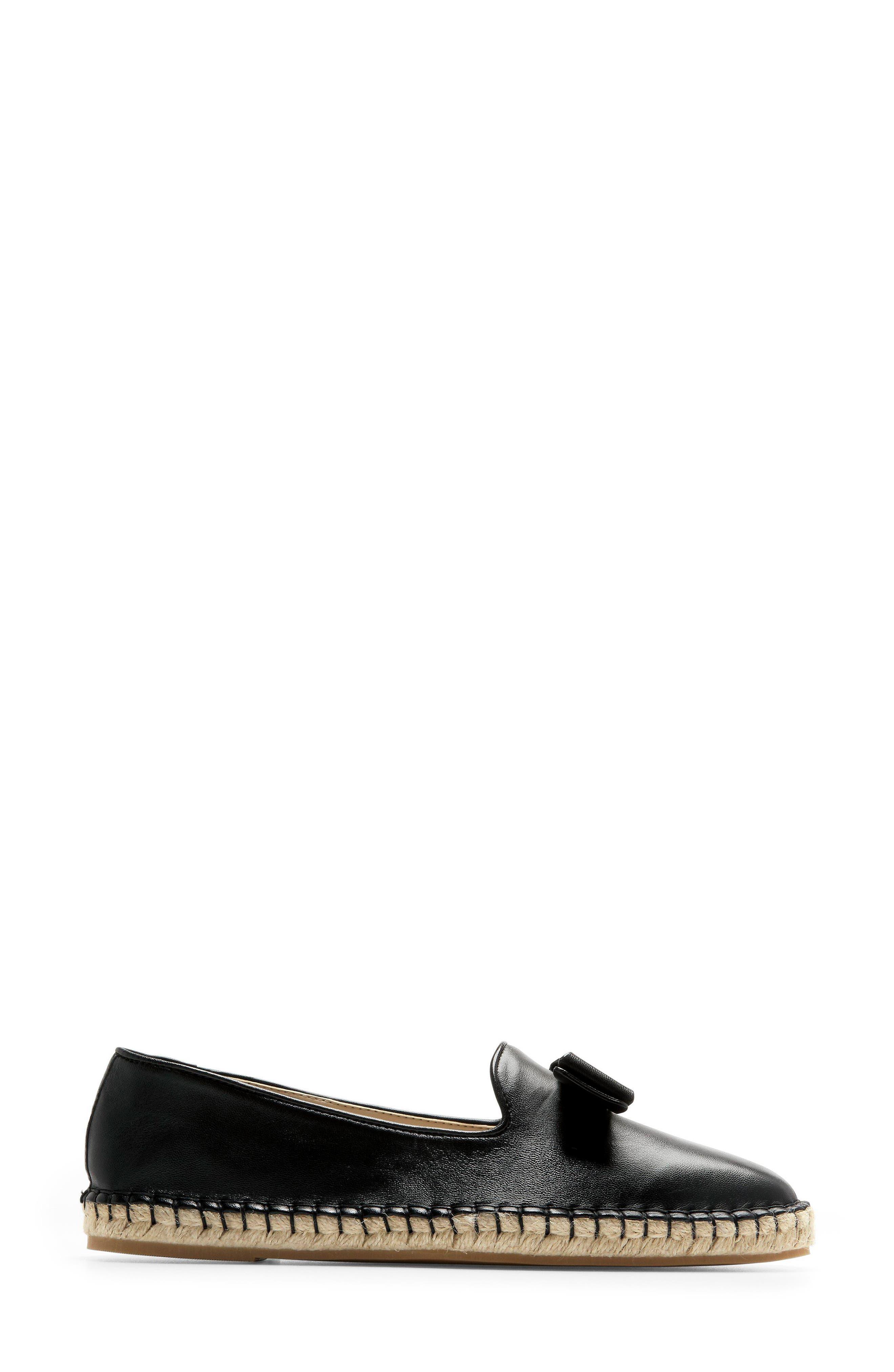 Tali Bow Espadrille Flat,                             Alternate thumbnail 3, color,                             Black Leather