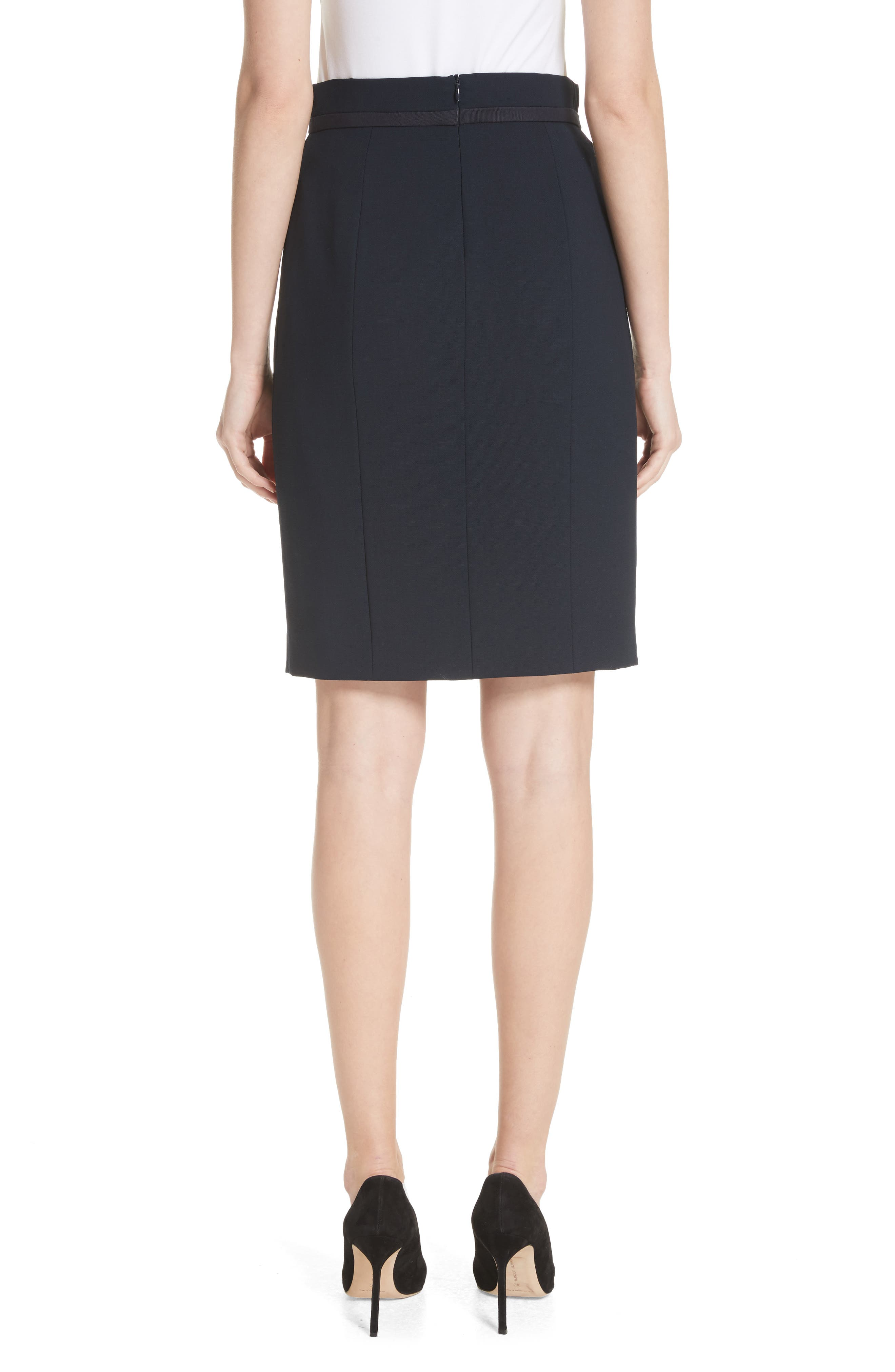 Stretch Wool Crepe Skirt,                             Alternate thumbnail 2, color,                             Navy