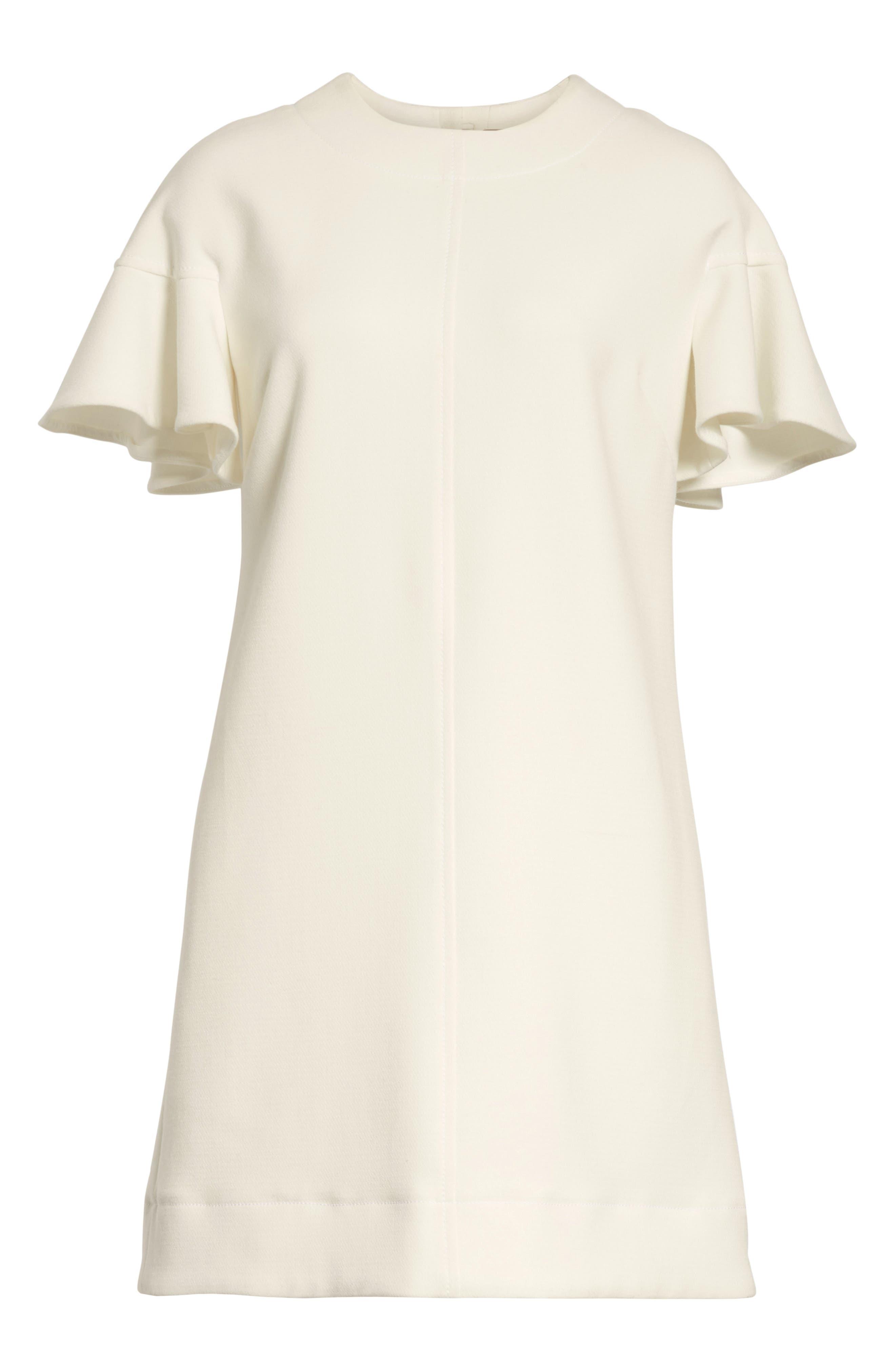 Flutter Sleeve Wool Blend Shift Dress,                         Main,                         color, White