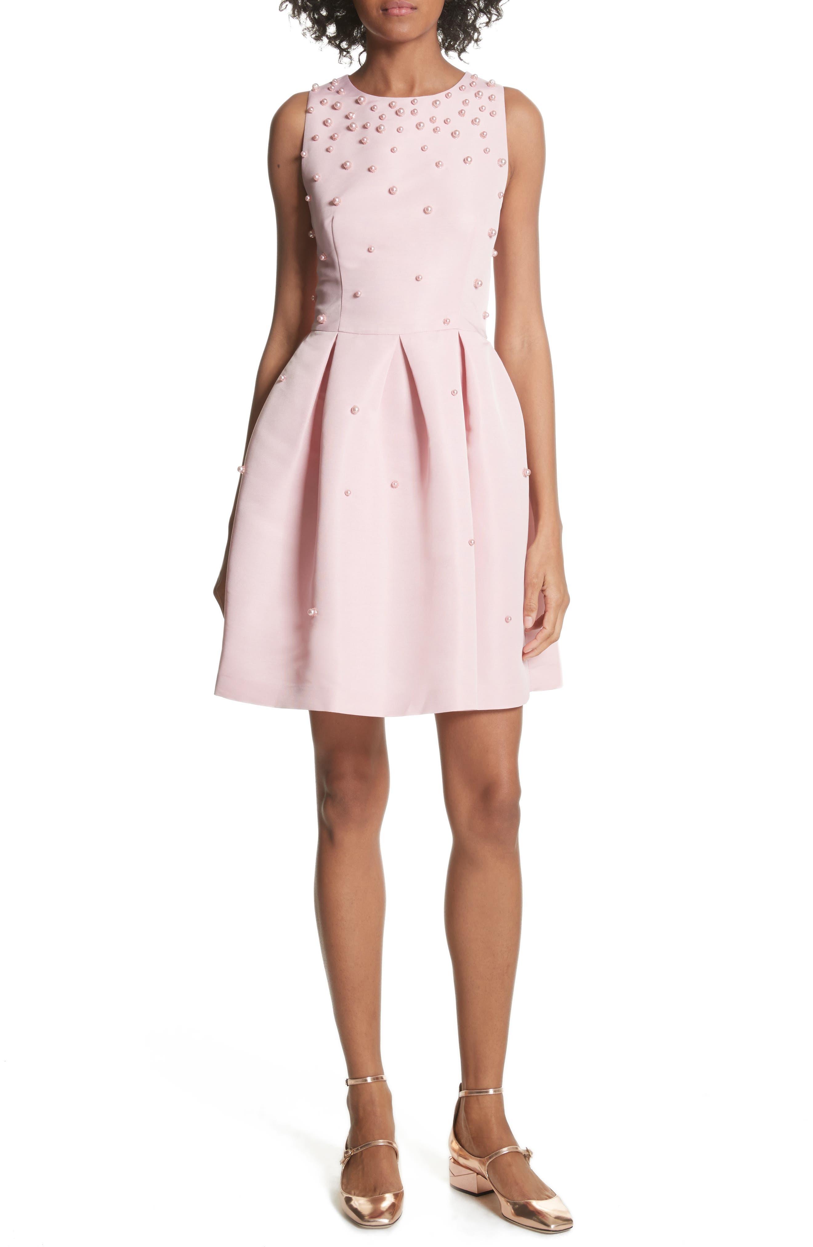 Embellished Skater Dress,                         Main,                         color, Baby Pink