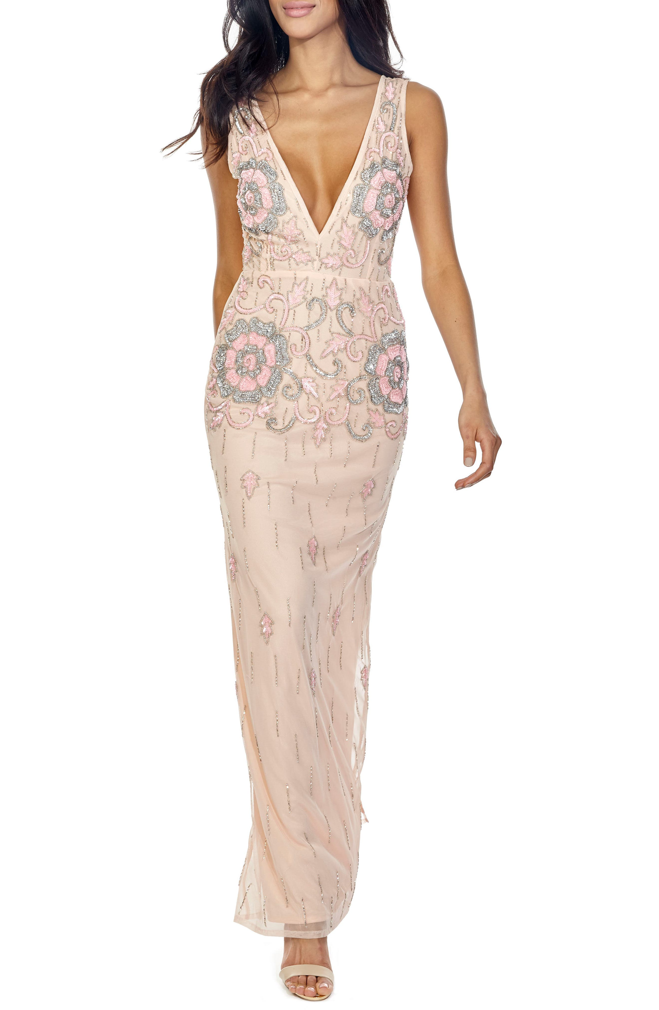 Gilly Sequin Maxi Dress,                             Main thumbnail 1, color,                             Nude