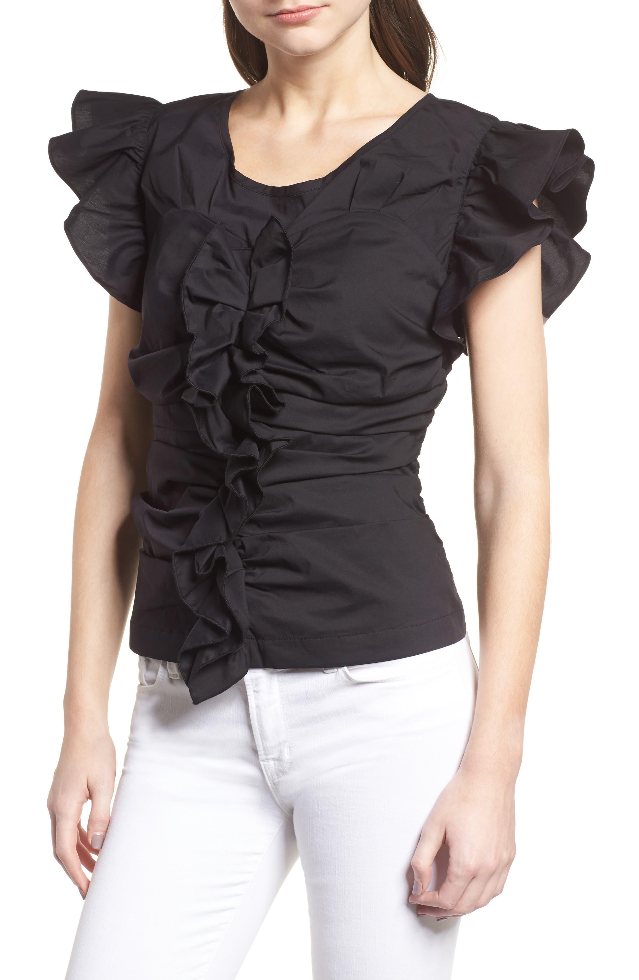 Ruched Poplin Top,                         Main,                         color, Black