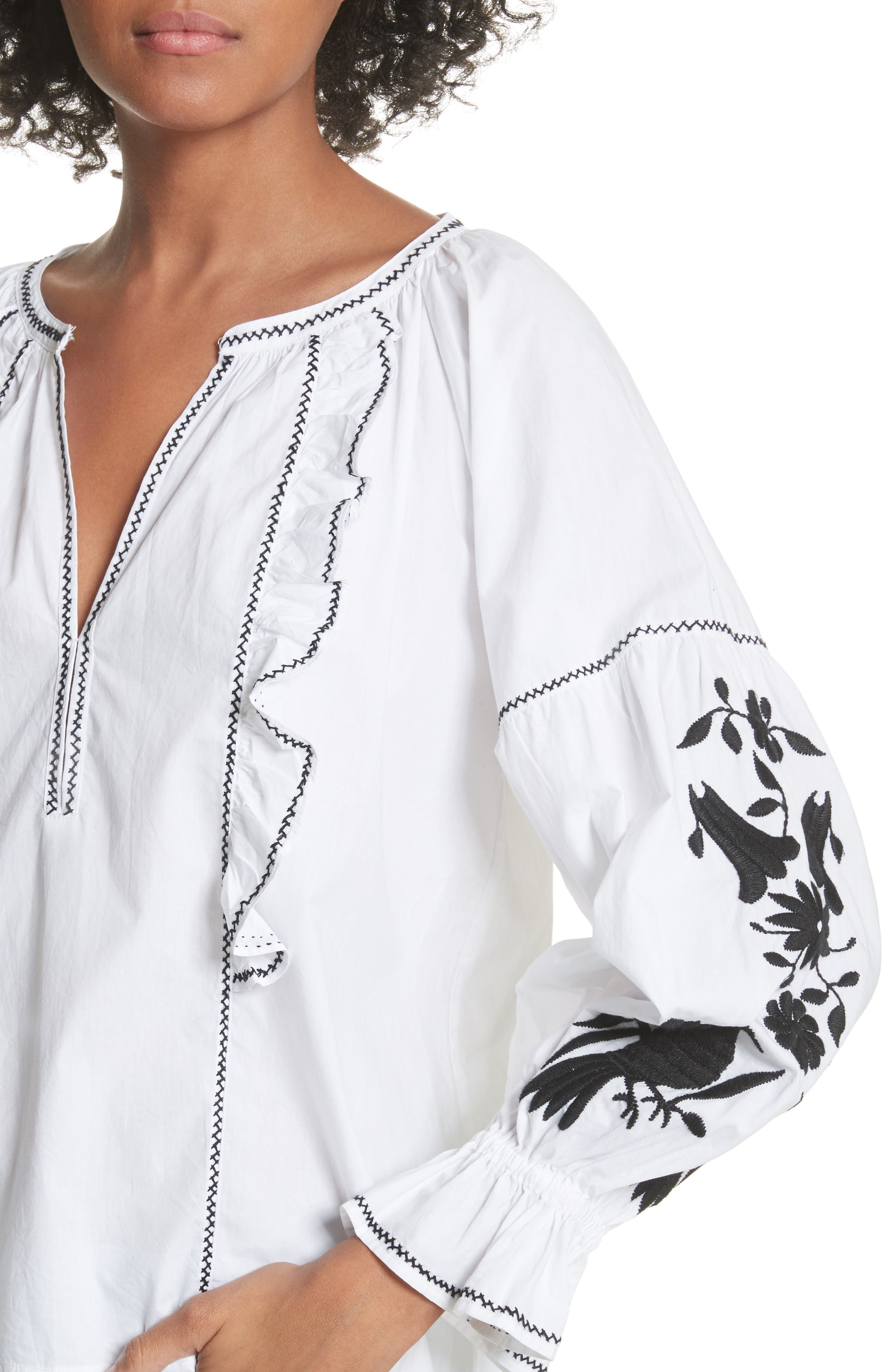 Cleavanta Embroidered Peasant Blouse,                             Alternate thumbnail 4, color,                             Clean White Caviar
