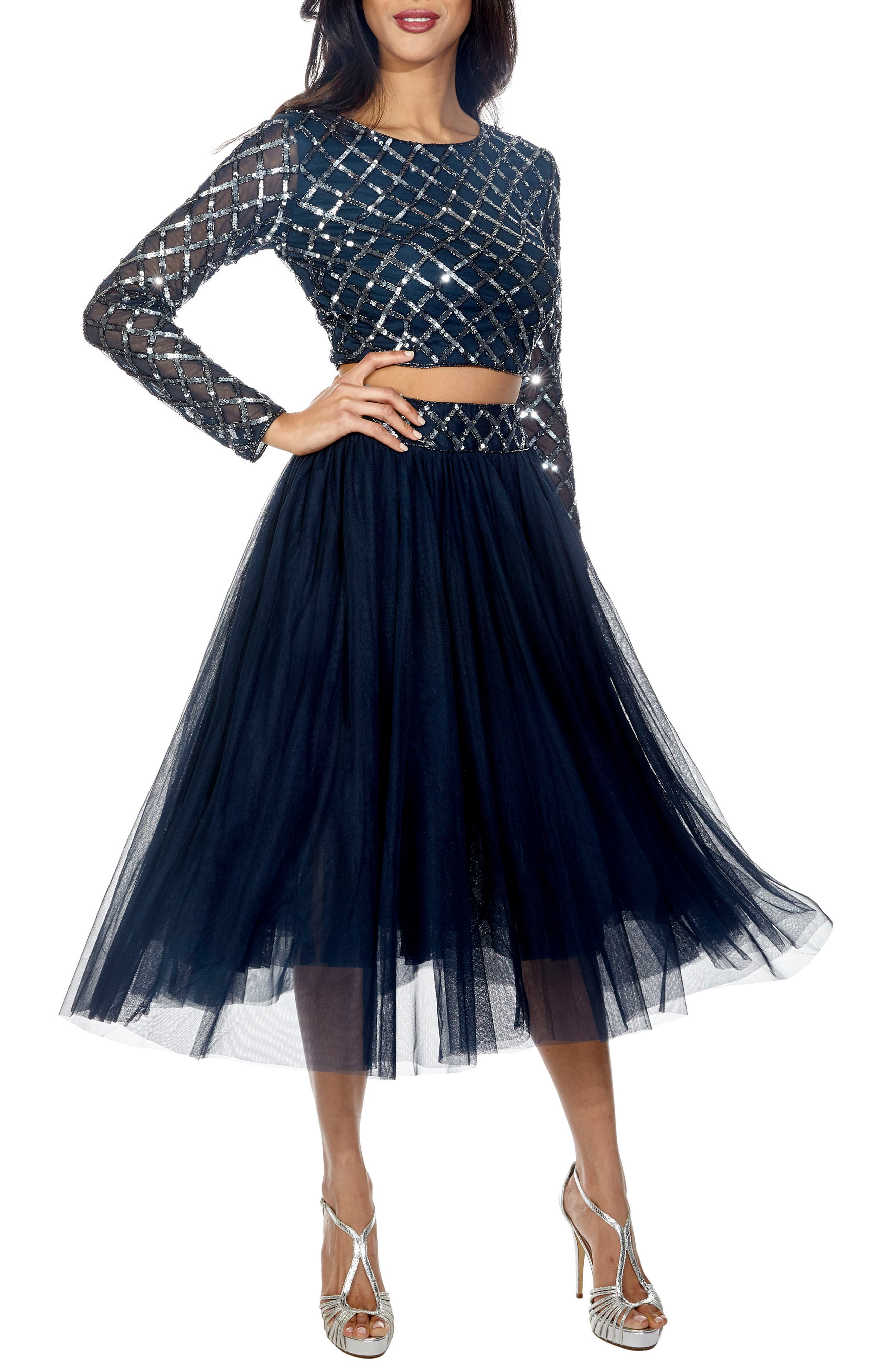Carmel Sequin Top & Tulle Skirt Combo,                         Main,                         color, Navy