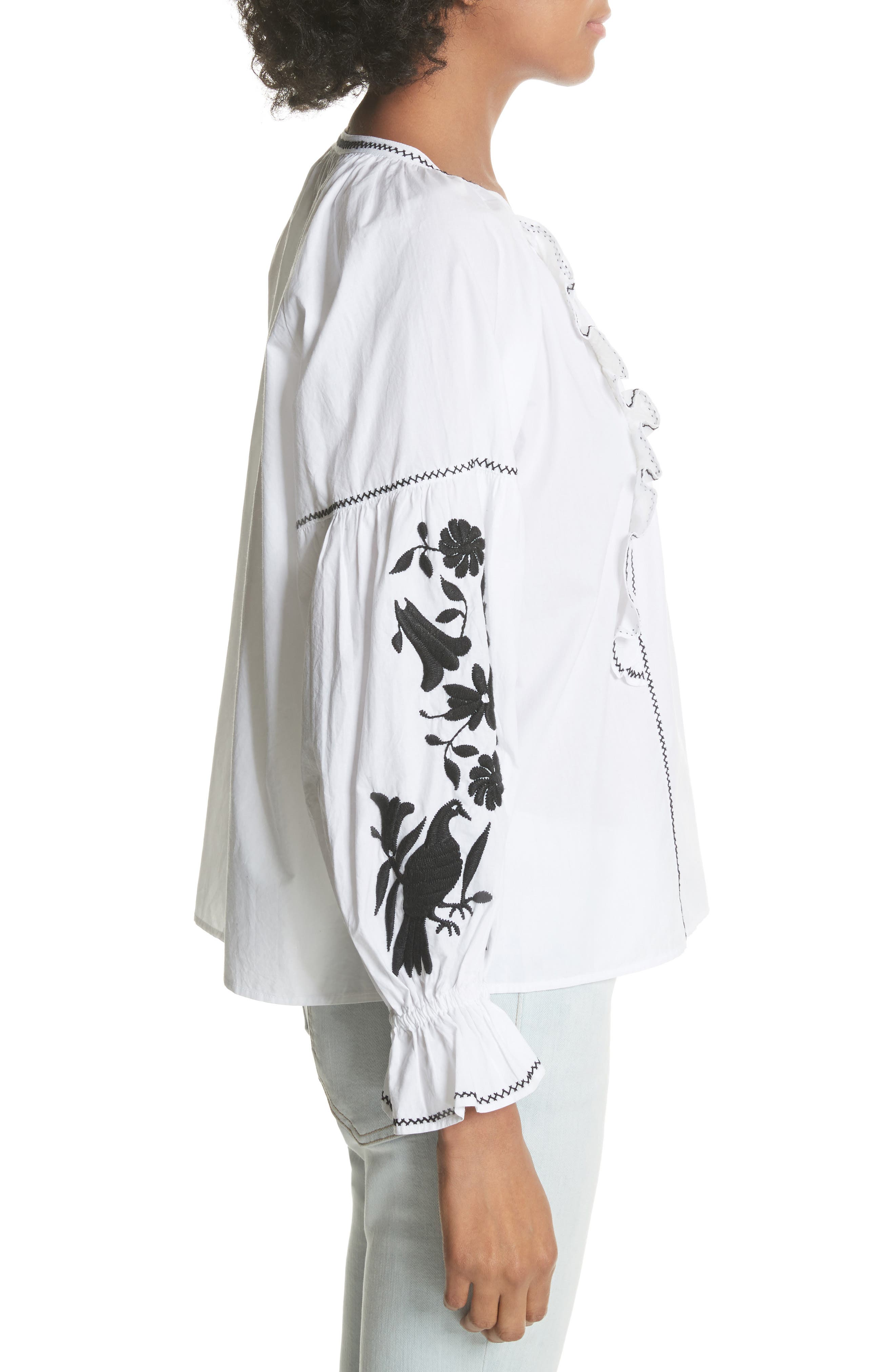 Cleavanta Embroidered Peasant Blouse,                             Alternate thumbnail 3, color,                             Clean White Caviar