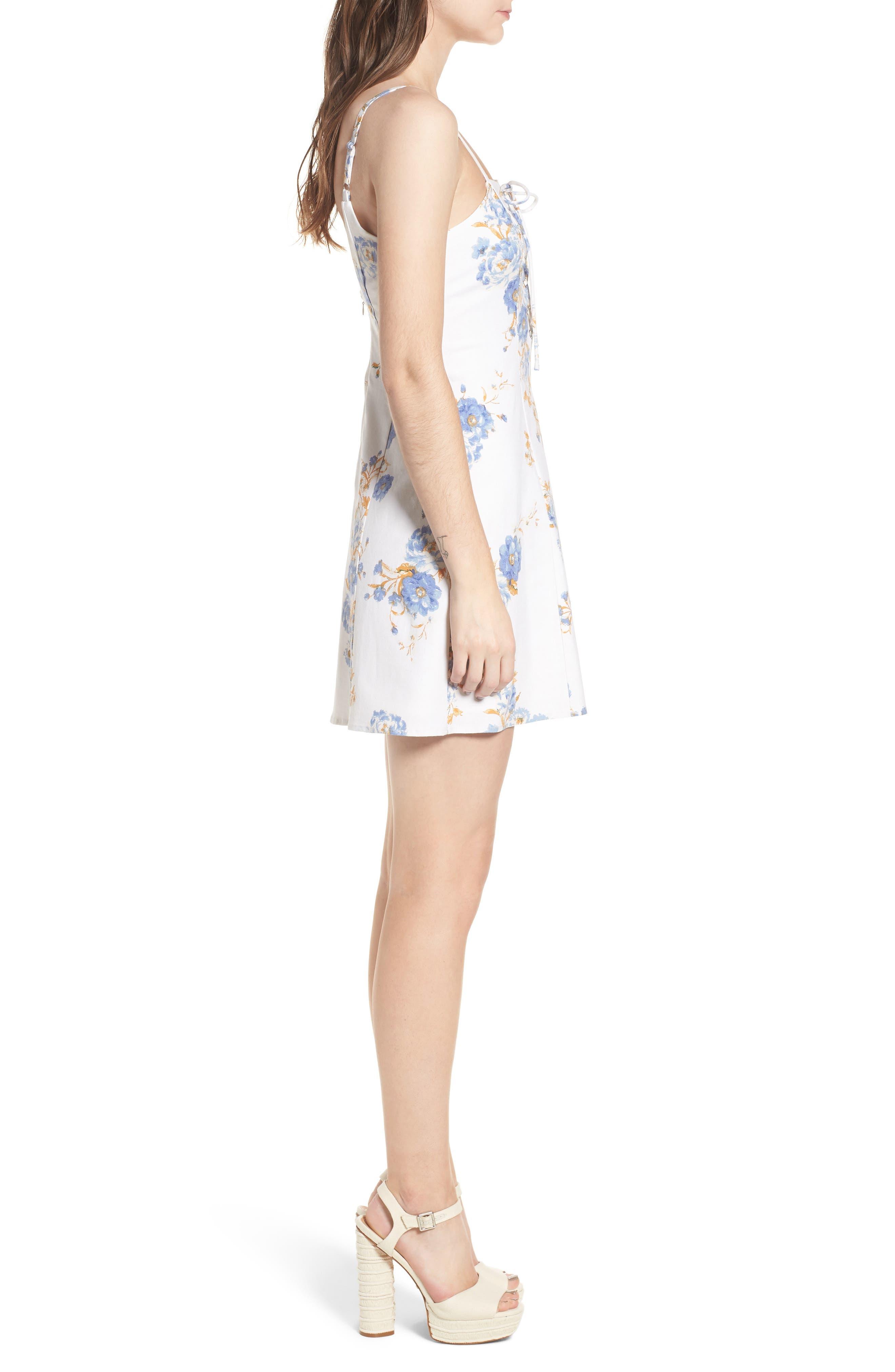 Modena Lace-Up Minidress,                             Alternate thumbnail 3, color,                             Ivory Floral