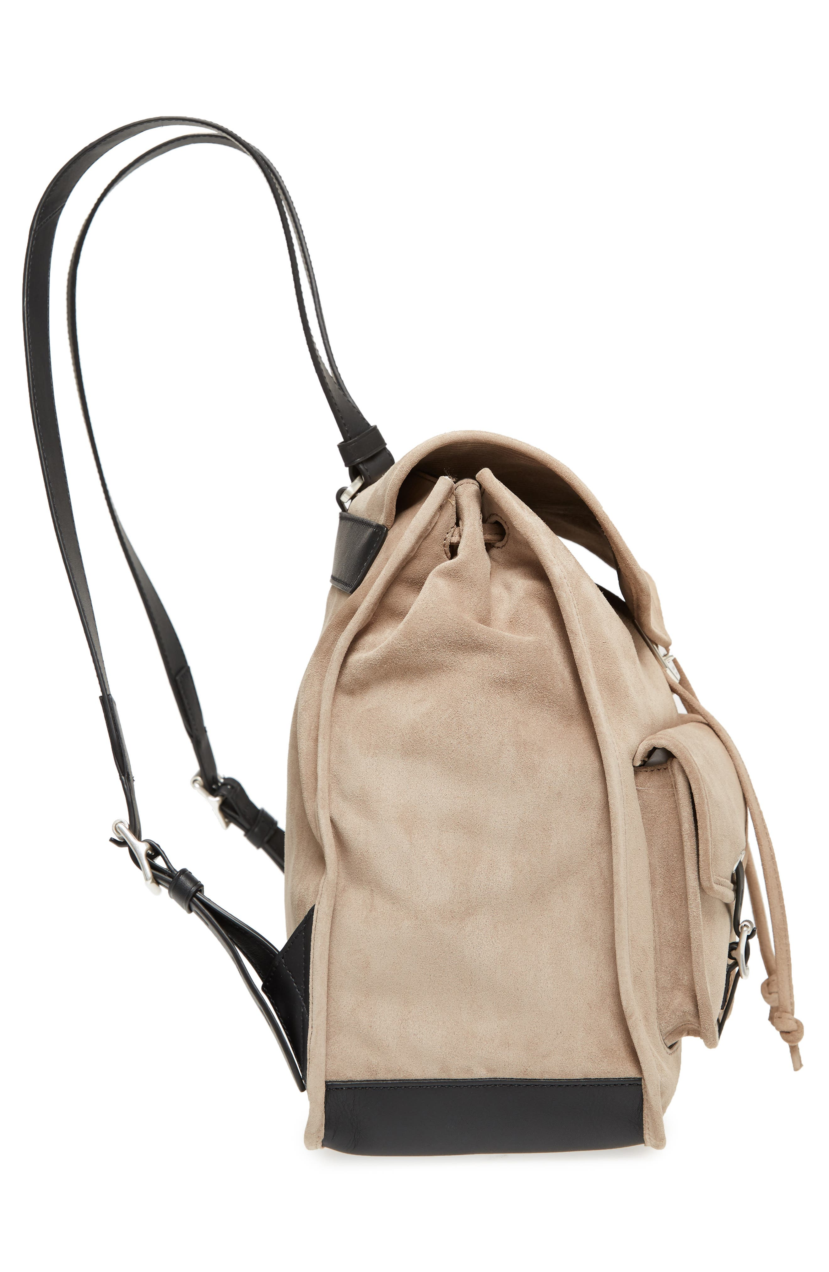 Field Suede & Leather Backpack,                             Alternate thumbnail 5, color,                             Warm Grey Suede