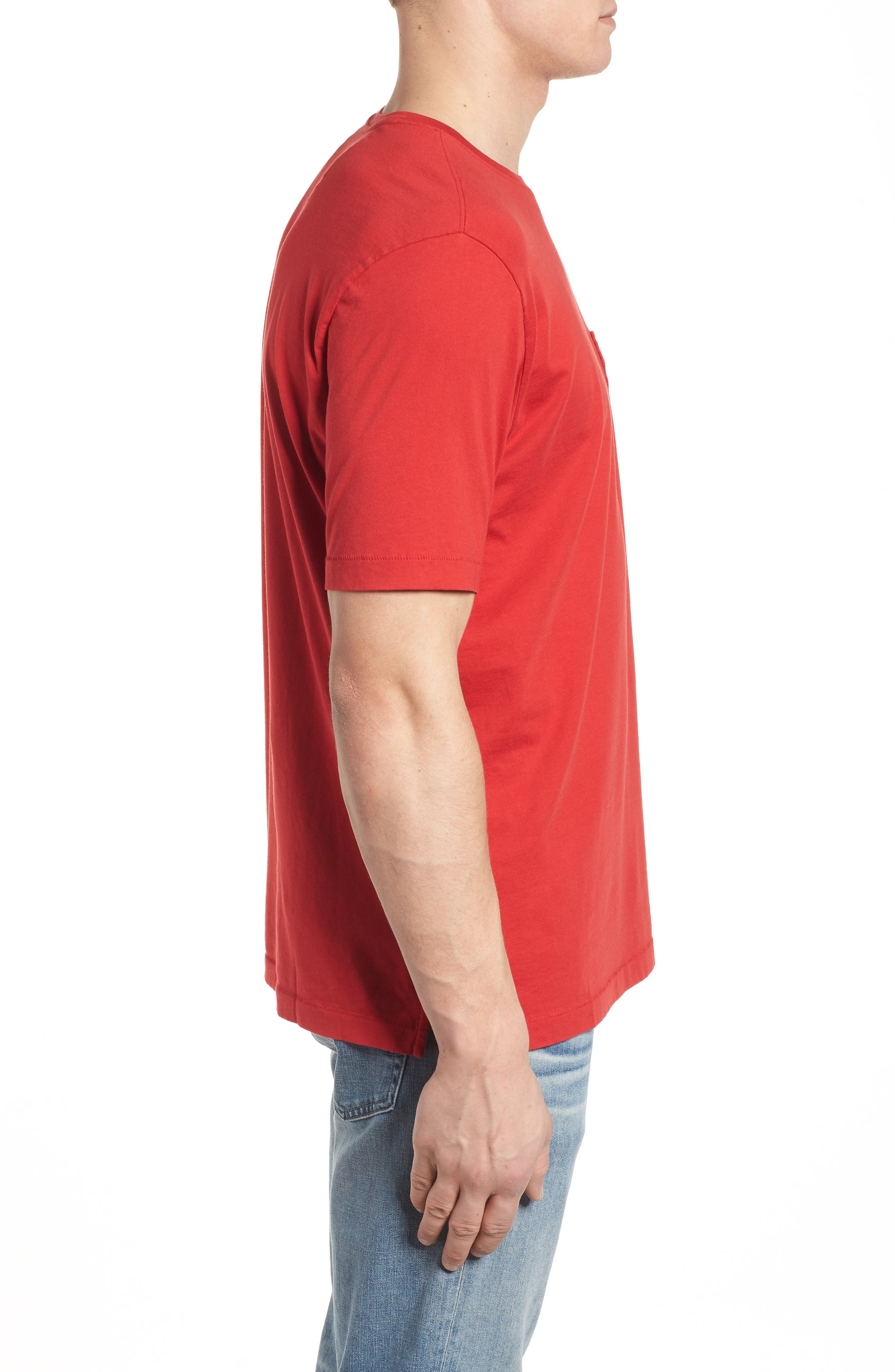 'New Bali Sky' Original Fit Crewneck Pocket T-Shirt,                             Alternate thumbnail 3, color,                             Regal Red