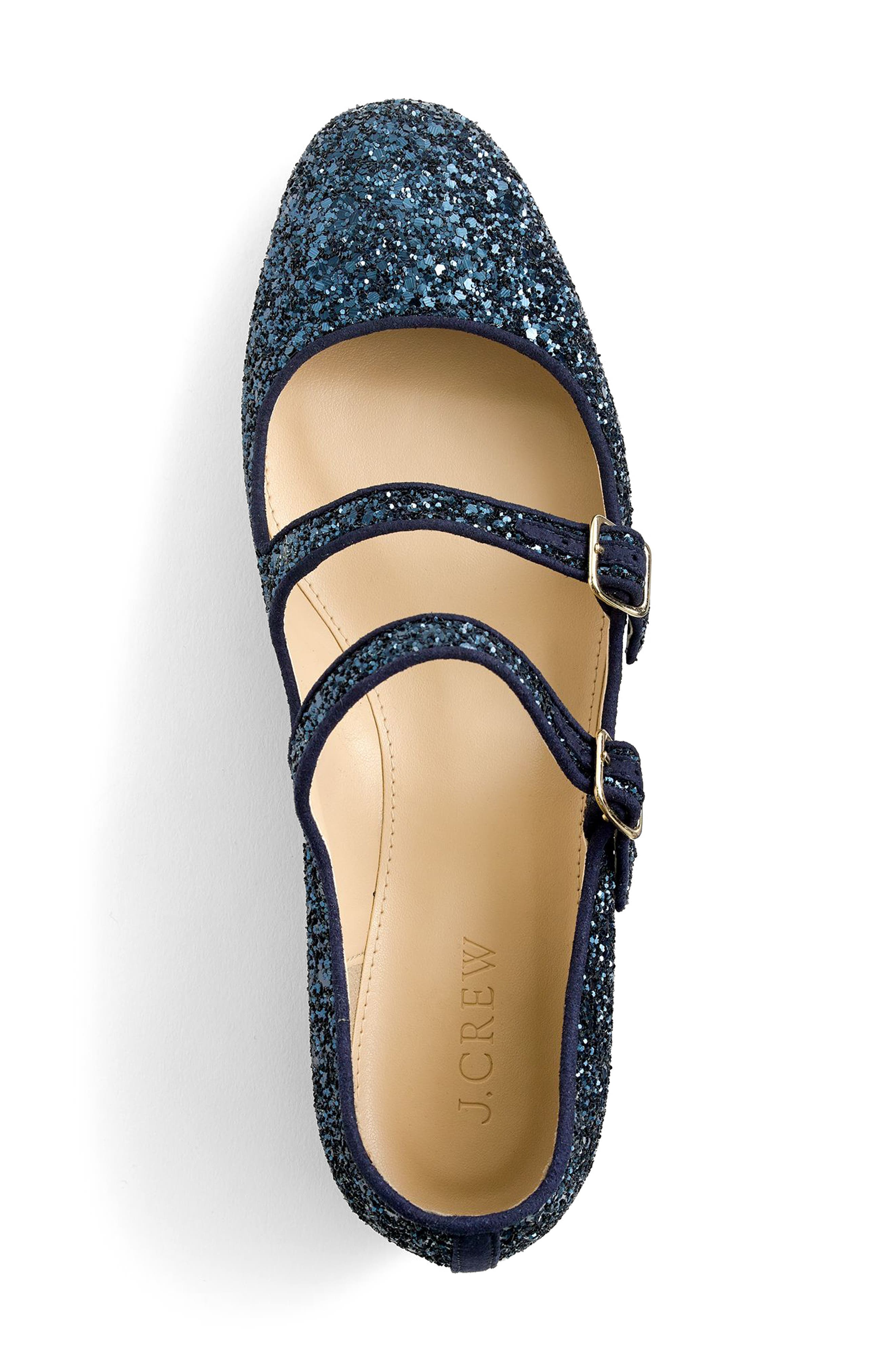 J.Crew Multistrap Mary Jane Flat,                             Alternate thumbnail 3, color,                             Navy Glitter Fabric