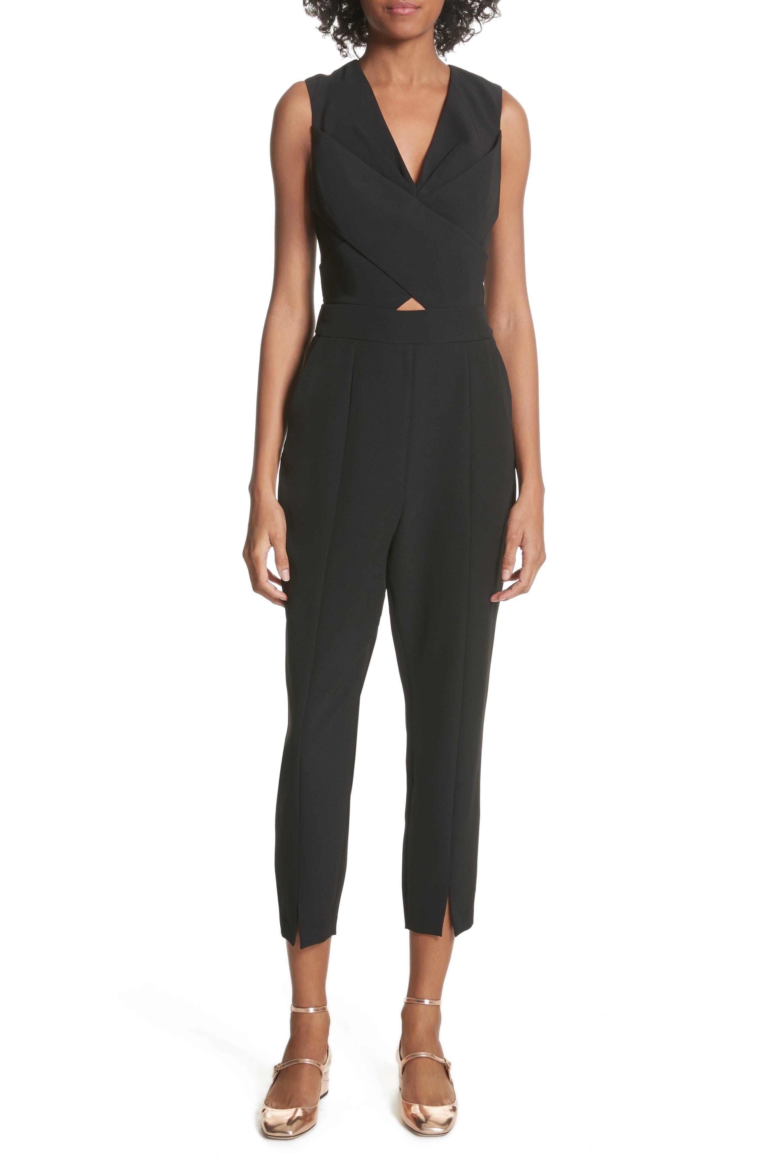 Crisscross Front Jumpsuit,                             Main thumbnail 1, color,                             Black
