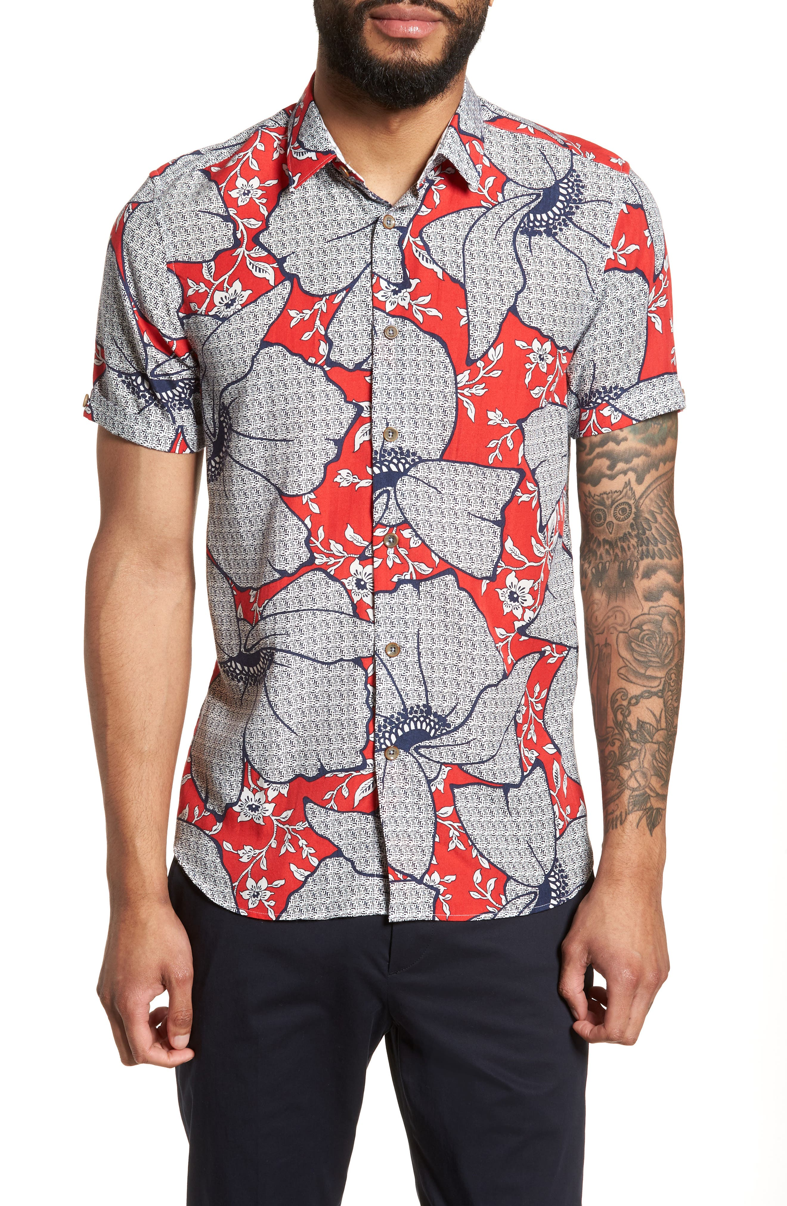 Sohot Trim Fit Floral Sport Shirt,                         Main,                         color, Red