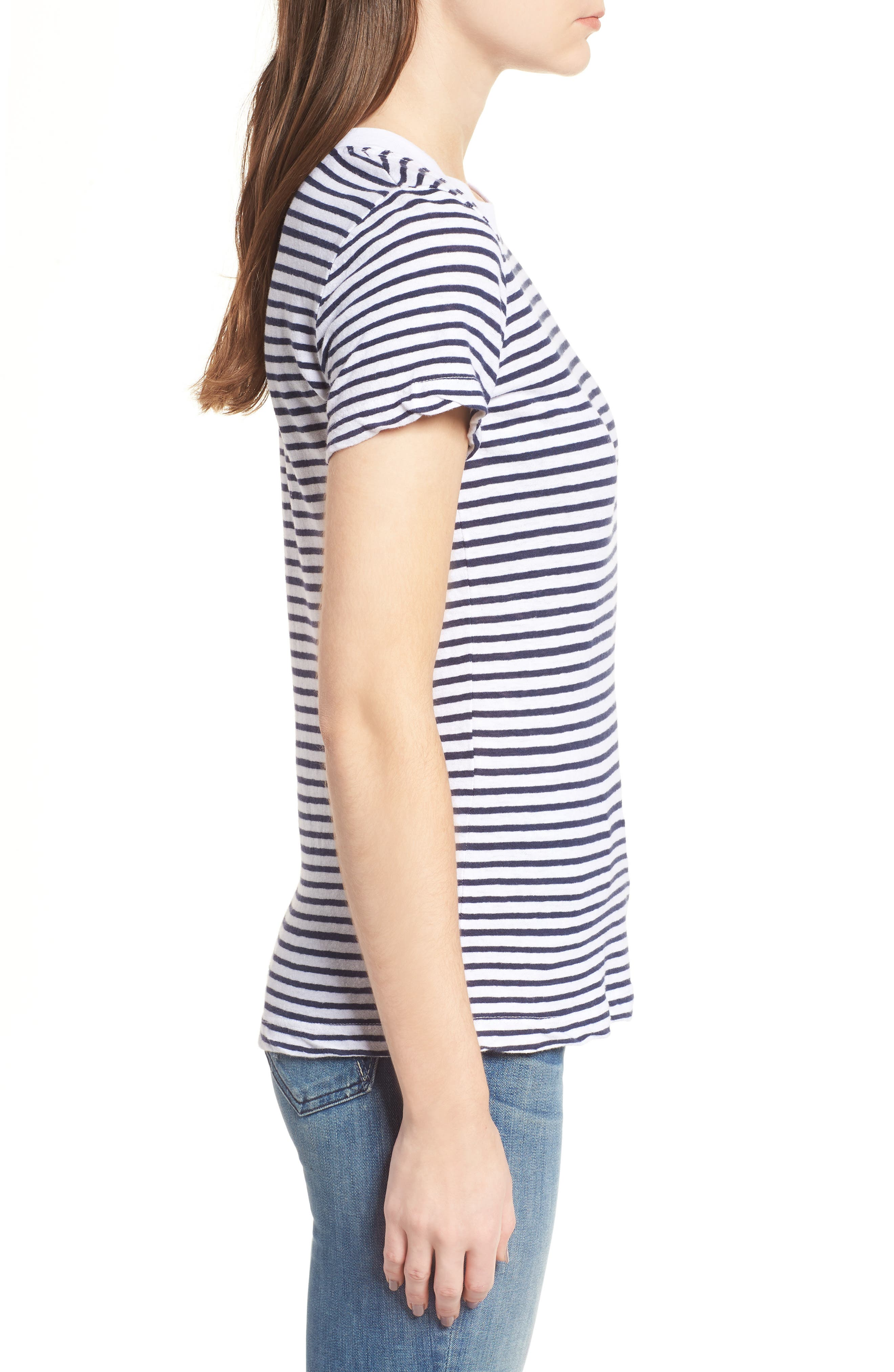 Stripe Linen Blend Boy Tee,                             Alternate thumbnail 3, color,                             Navy/ White