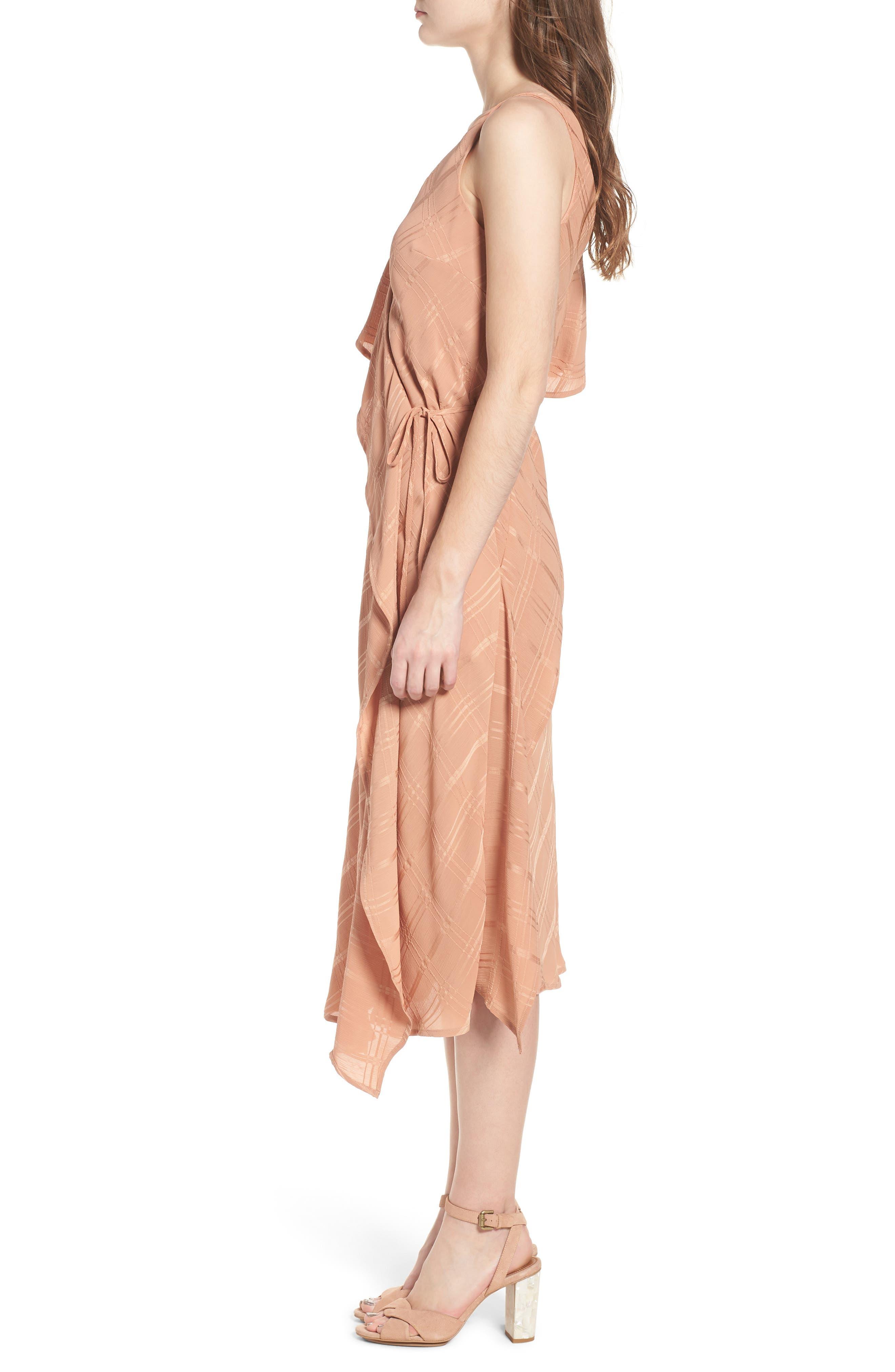 Yoanna Ruffle Trim Wrap Dress,                             Alternate thumbnail 3, color,                             Terracotta