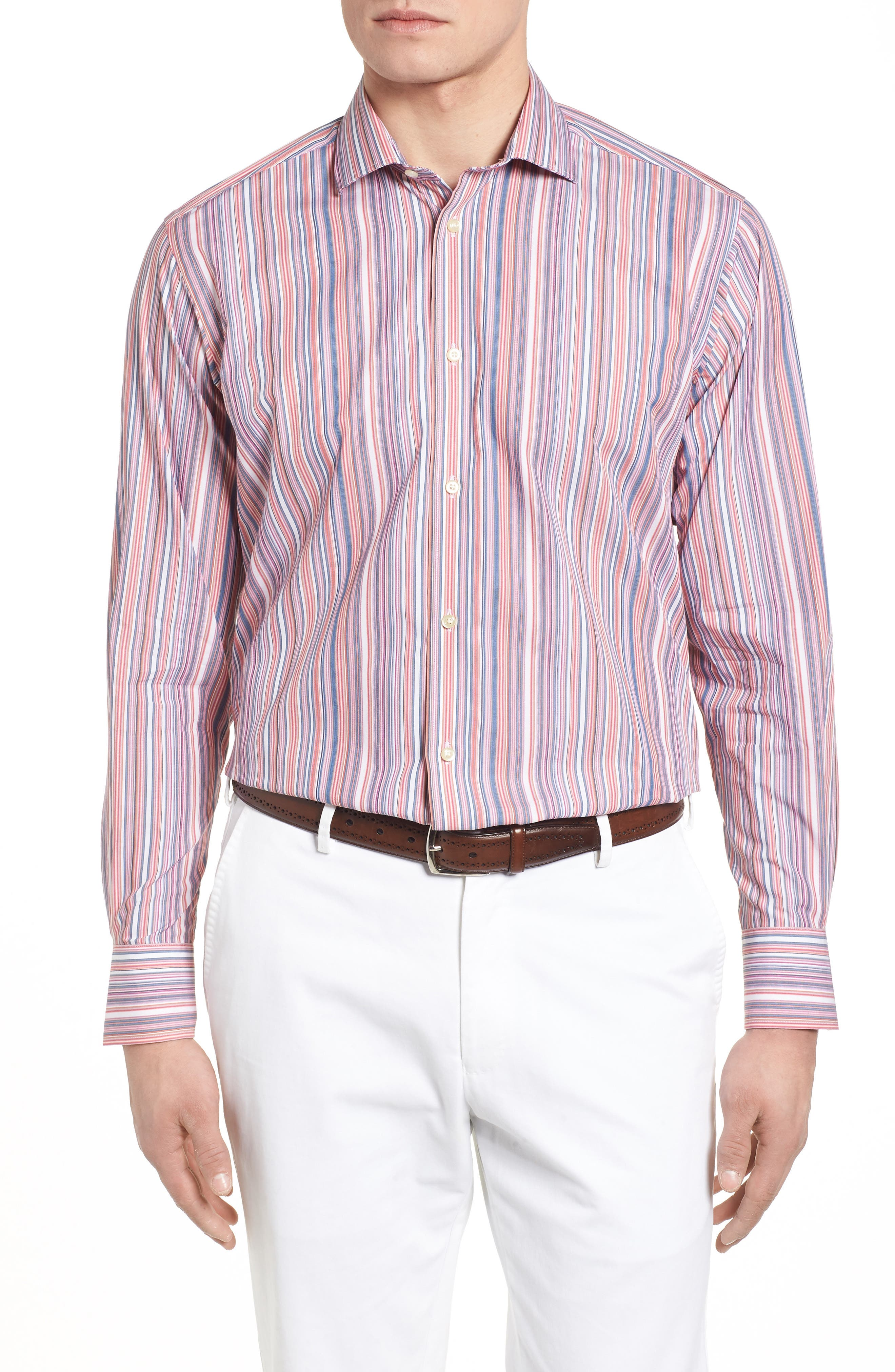 Multi Stripe Sport Shirt,                         Main,                         color, Orange