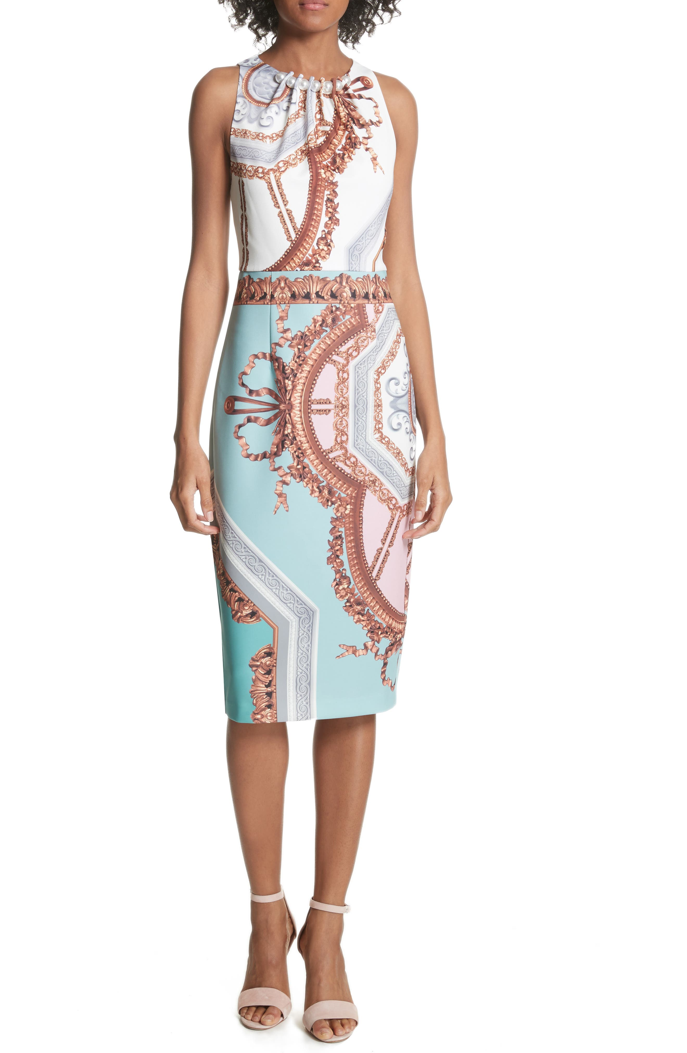 Orlla Embellished Midi Dress,                         Main,                         color, Teal