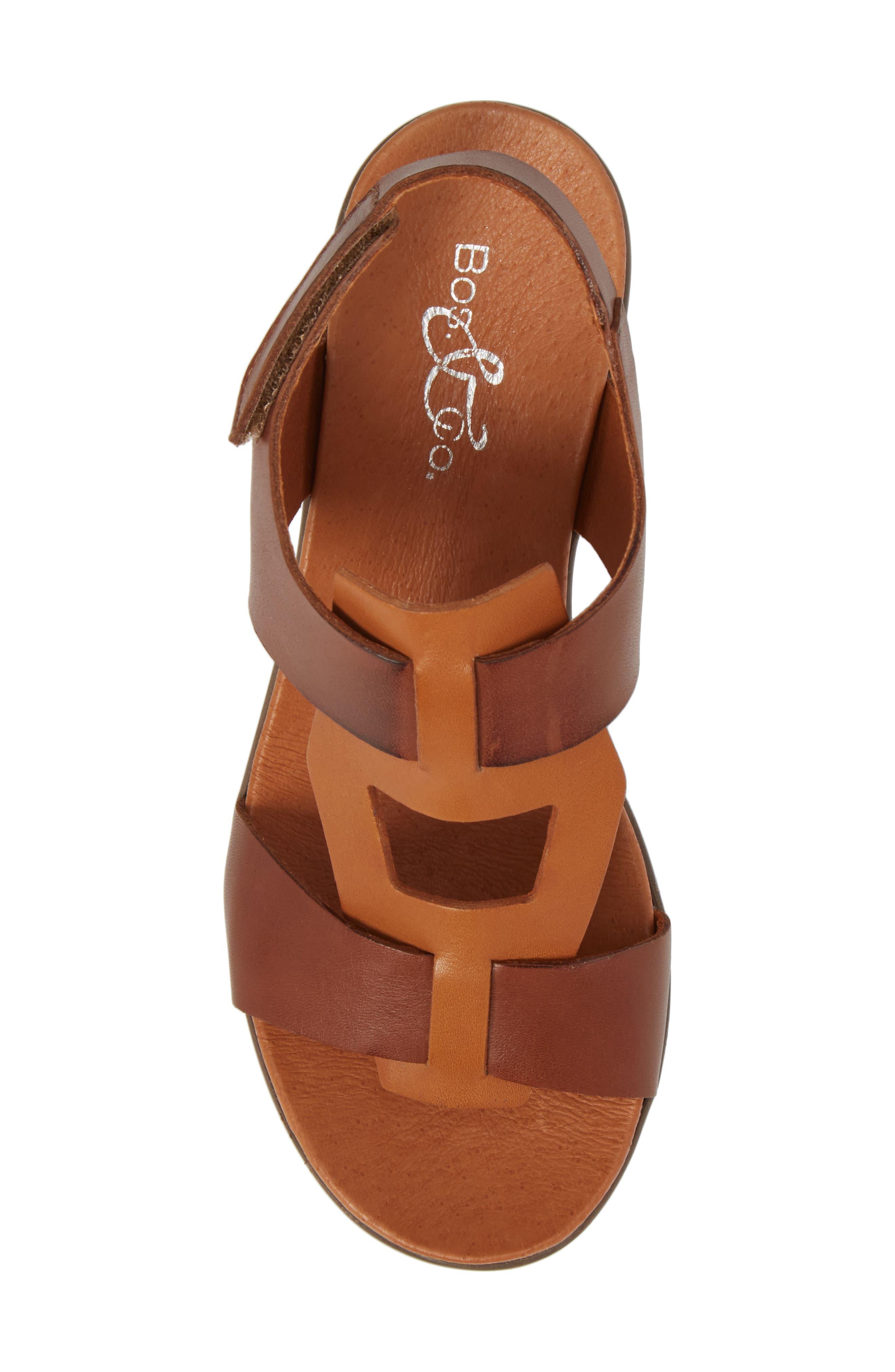 Somo Platform Wedge Sandal,                             Alternate thumbnail 5, color,                             Cognac/ Camel Leather