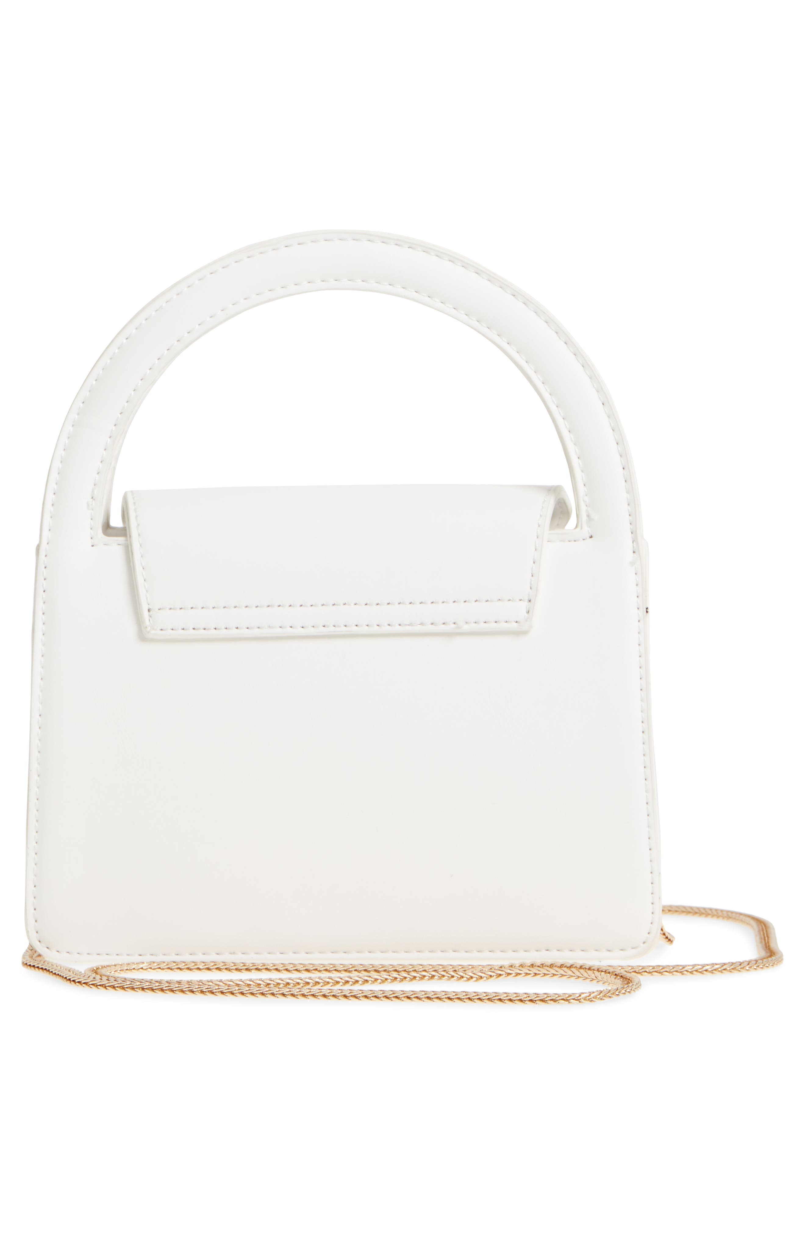 Envelope Flap Faux Leather Crossbody Satchel,                             Alternate thumbnail 3, color,                             White