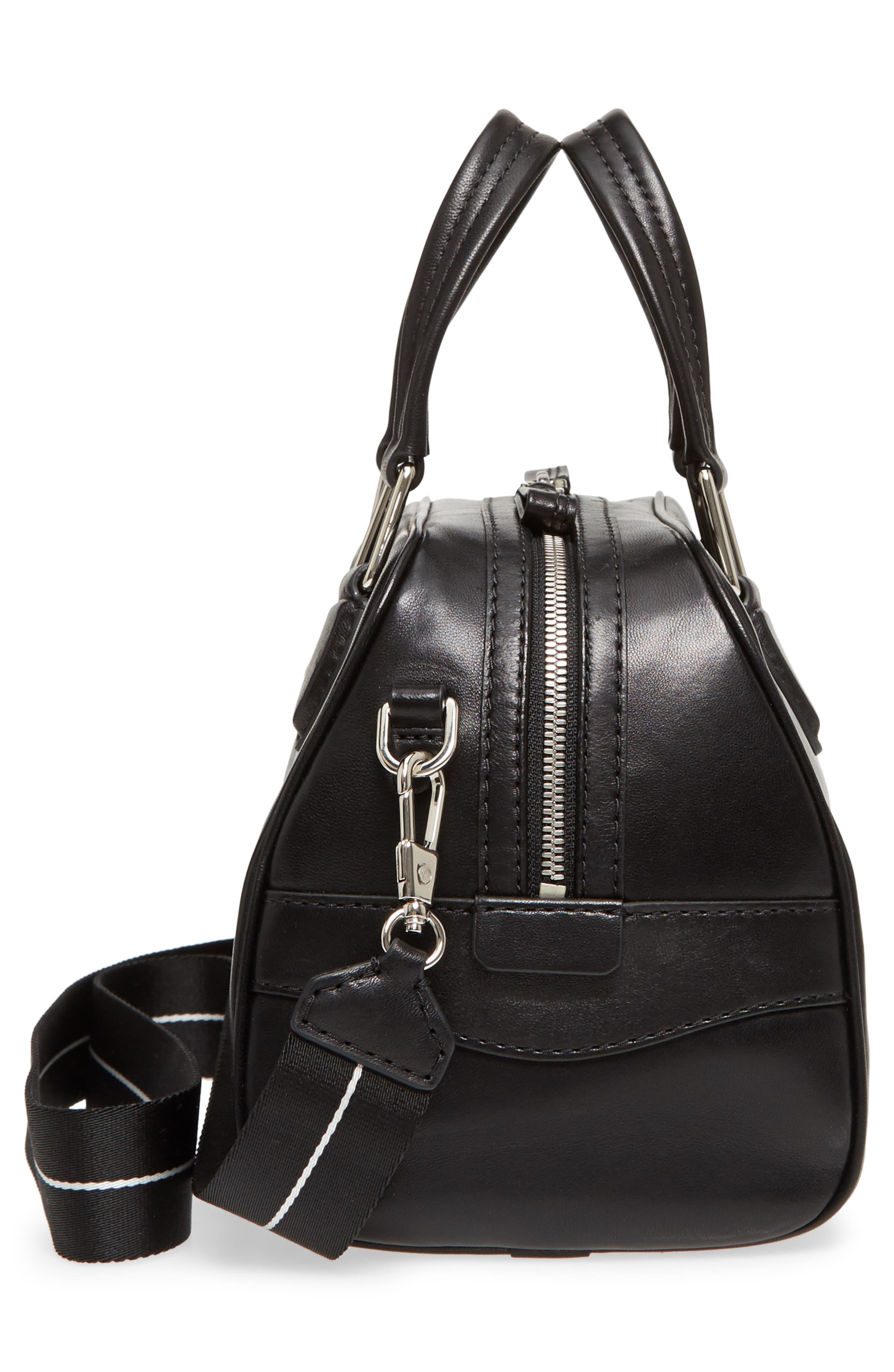 Small Ray Lambskin Leather Flight Bag,                             Alternate thumbnail 5, color,                             Black
