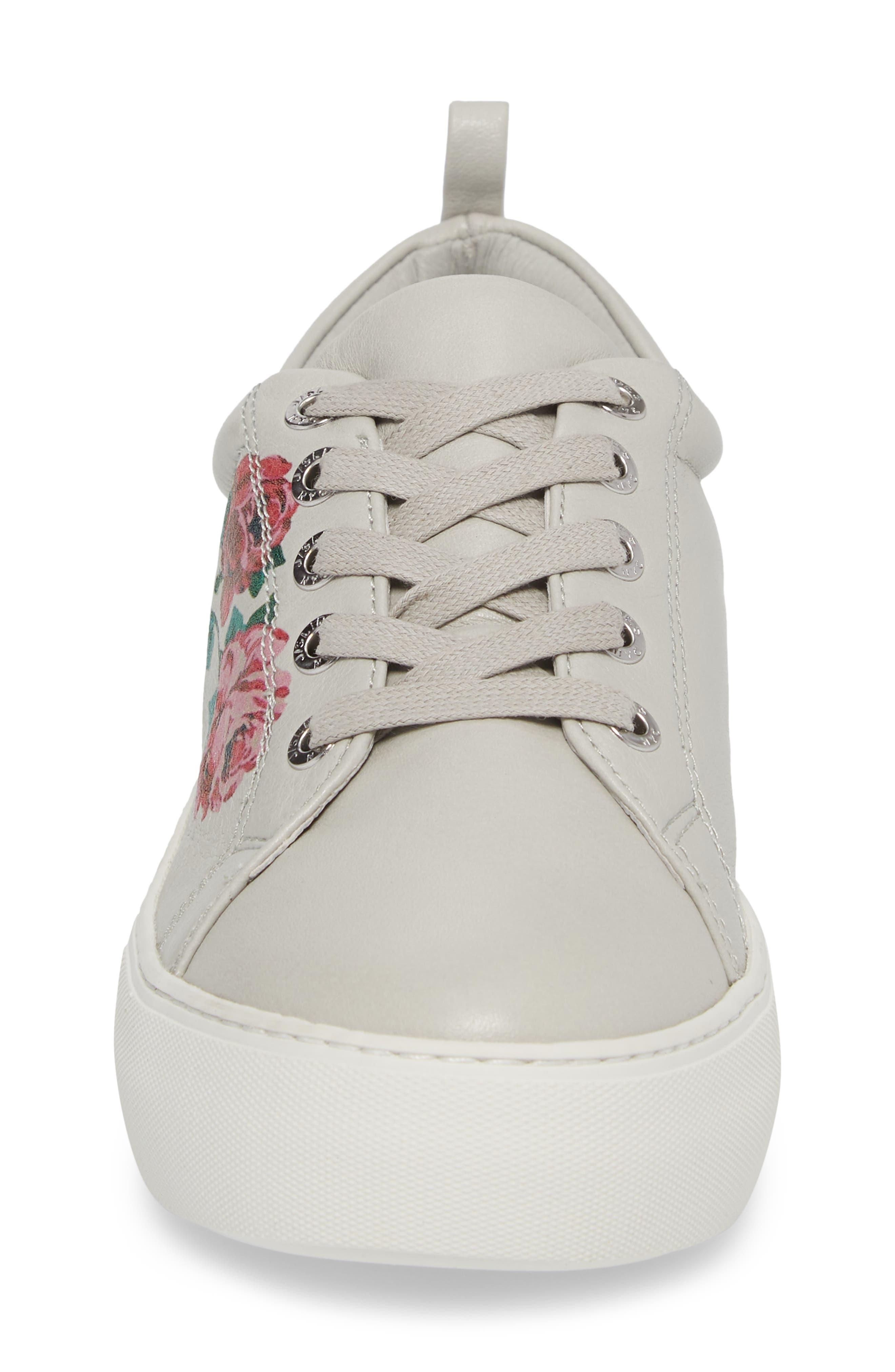 Adel Floral Sneaker,                             Alternate thumbnail 4, color,                             Light Grey Leather