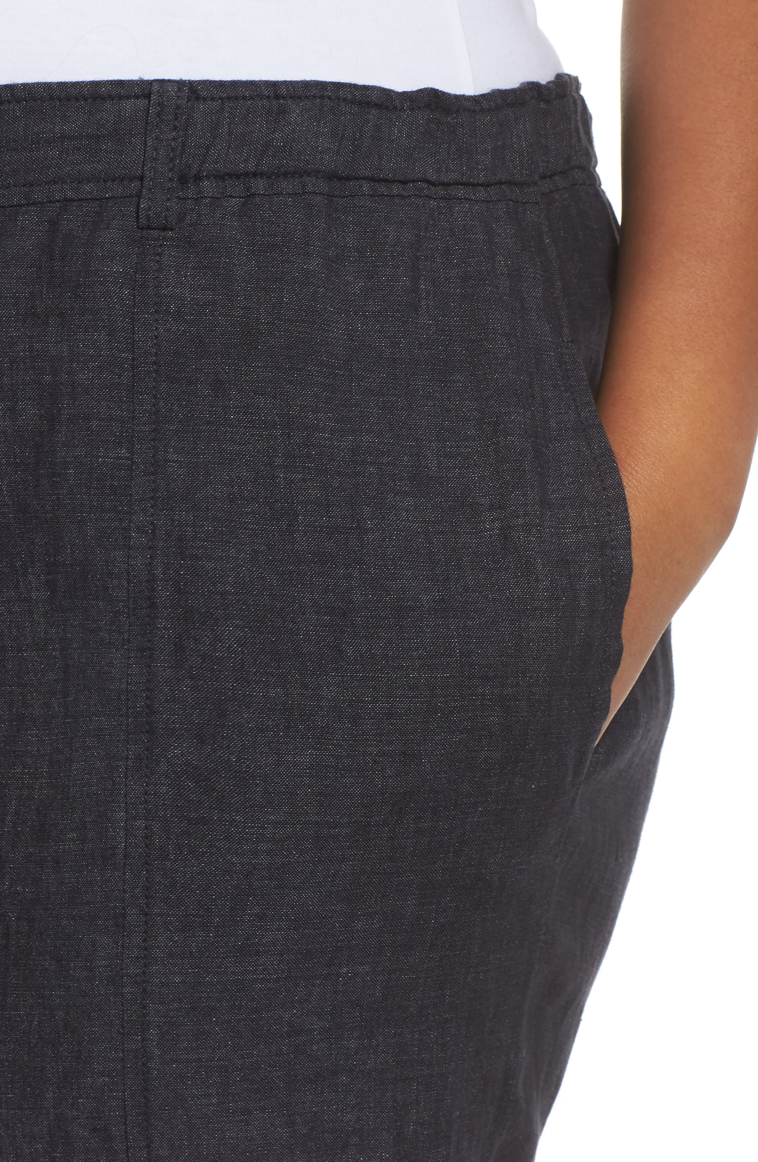 Easy Linen Ankle Pants,                             Alternate thumbnail 4, color,                             Denim
