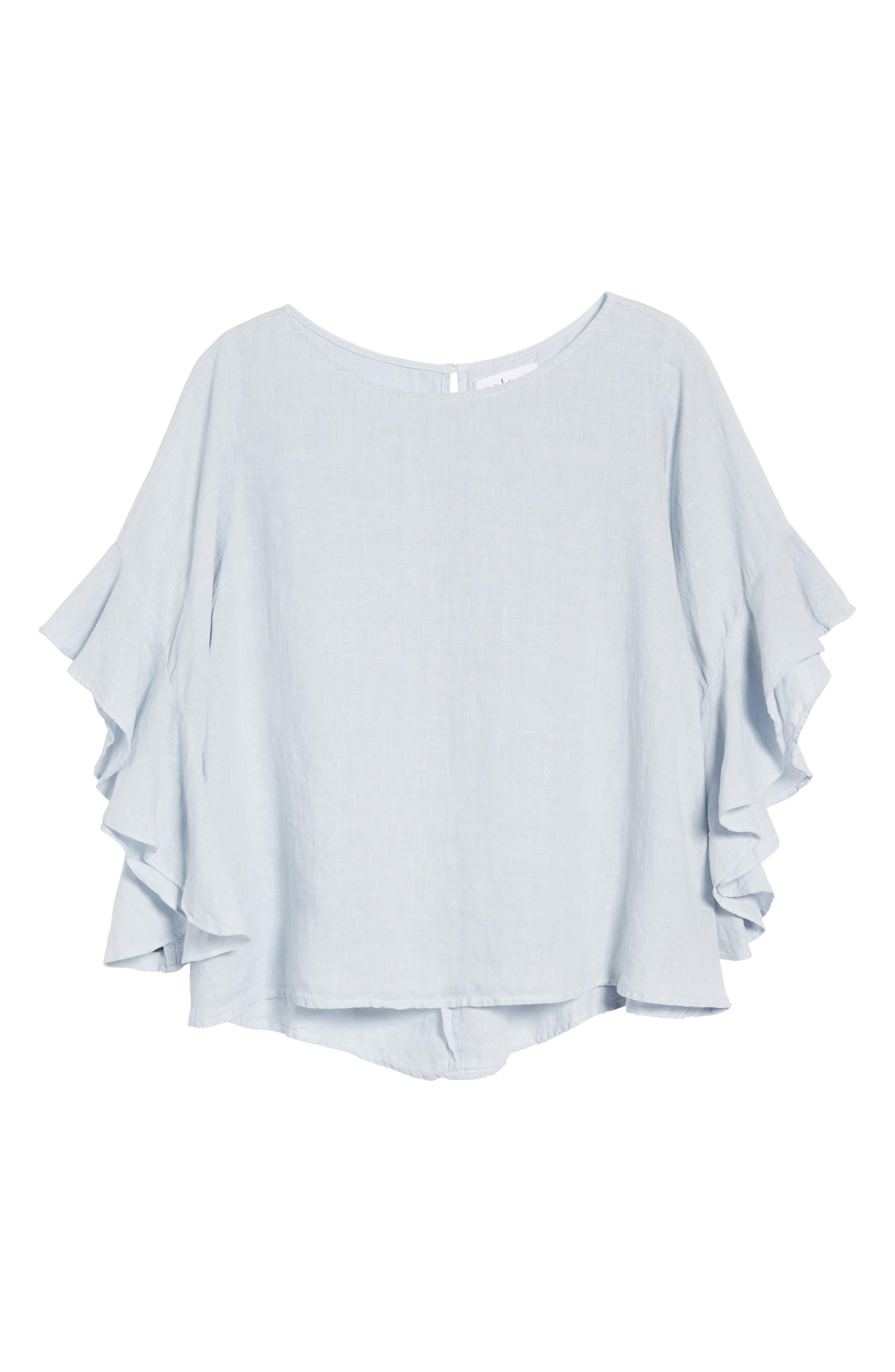 Ruffle Sleeve Linen Top,                             Alternate thumbnail 8, color,                             Cloud
