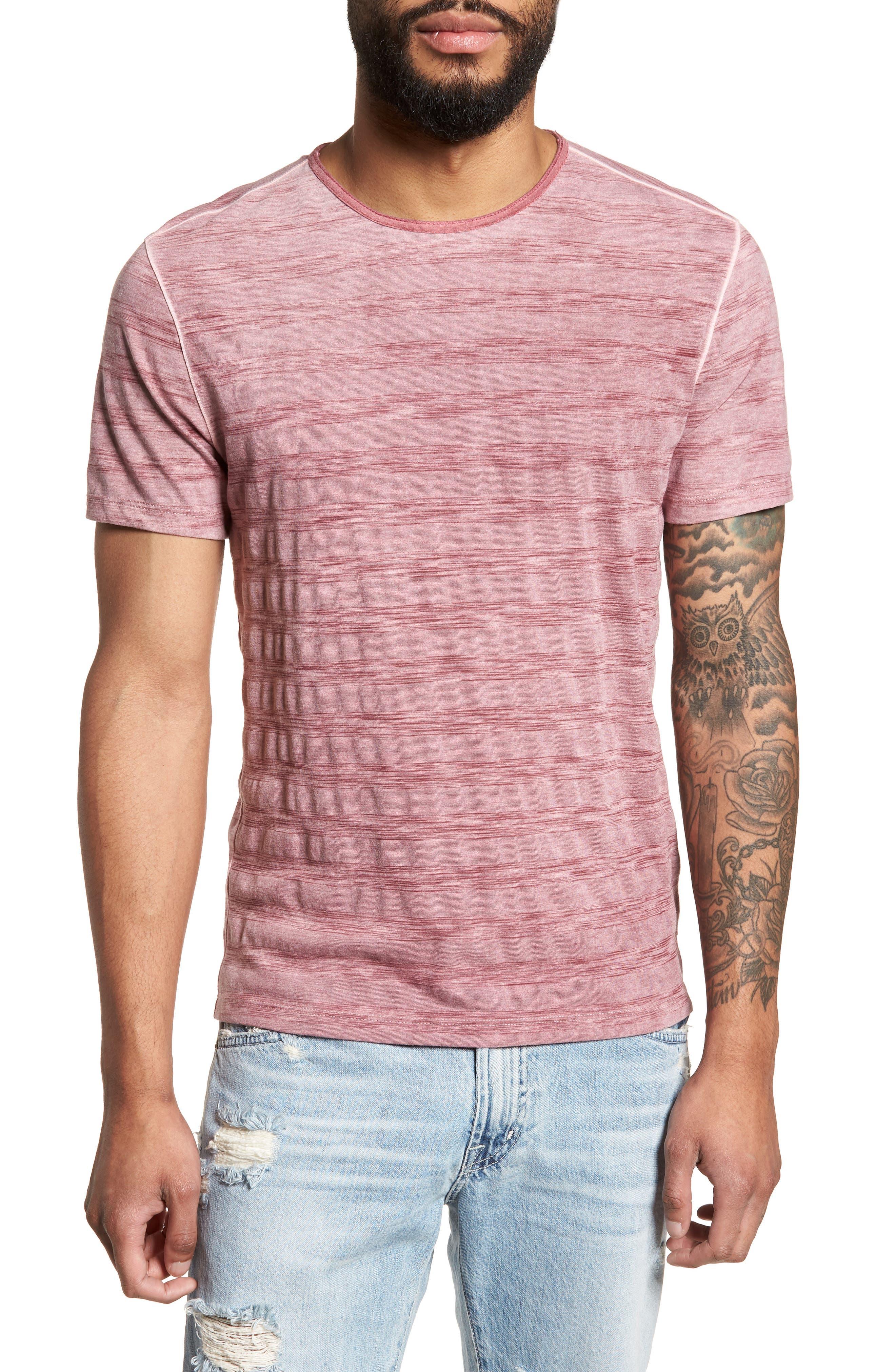 Slim Fit Ombré Stripe T-Shirt,                             Main thumbnail 1, color,                             Cranberry