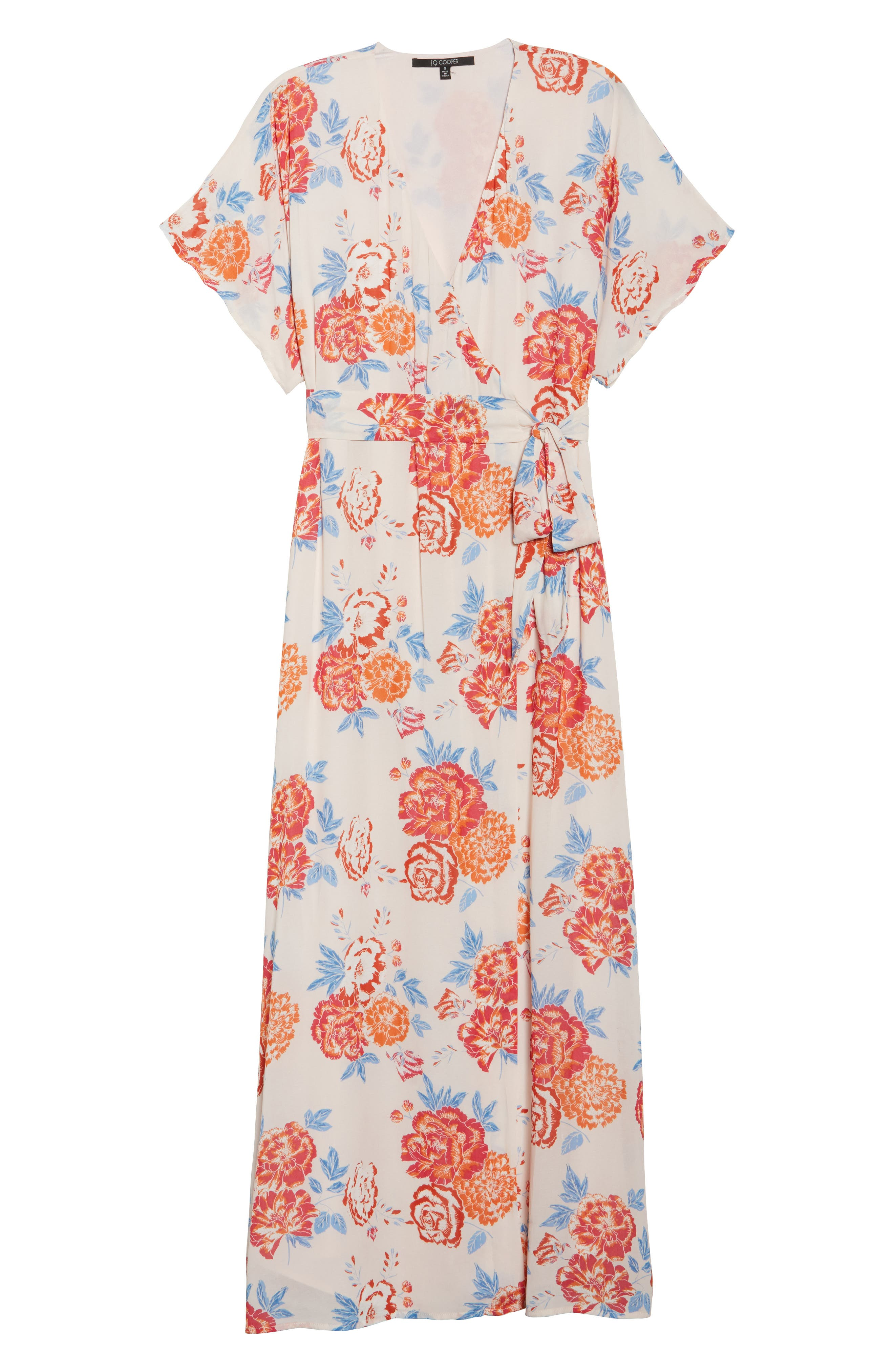 Floral Tie Waist Maxi Dress,                             Alternate thumbnail 7, color,                             Pink/ Coral Multi