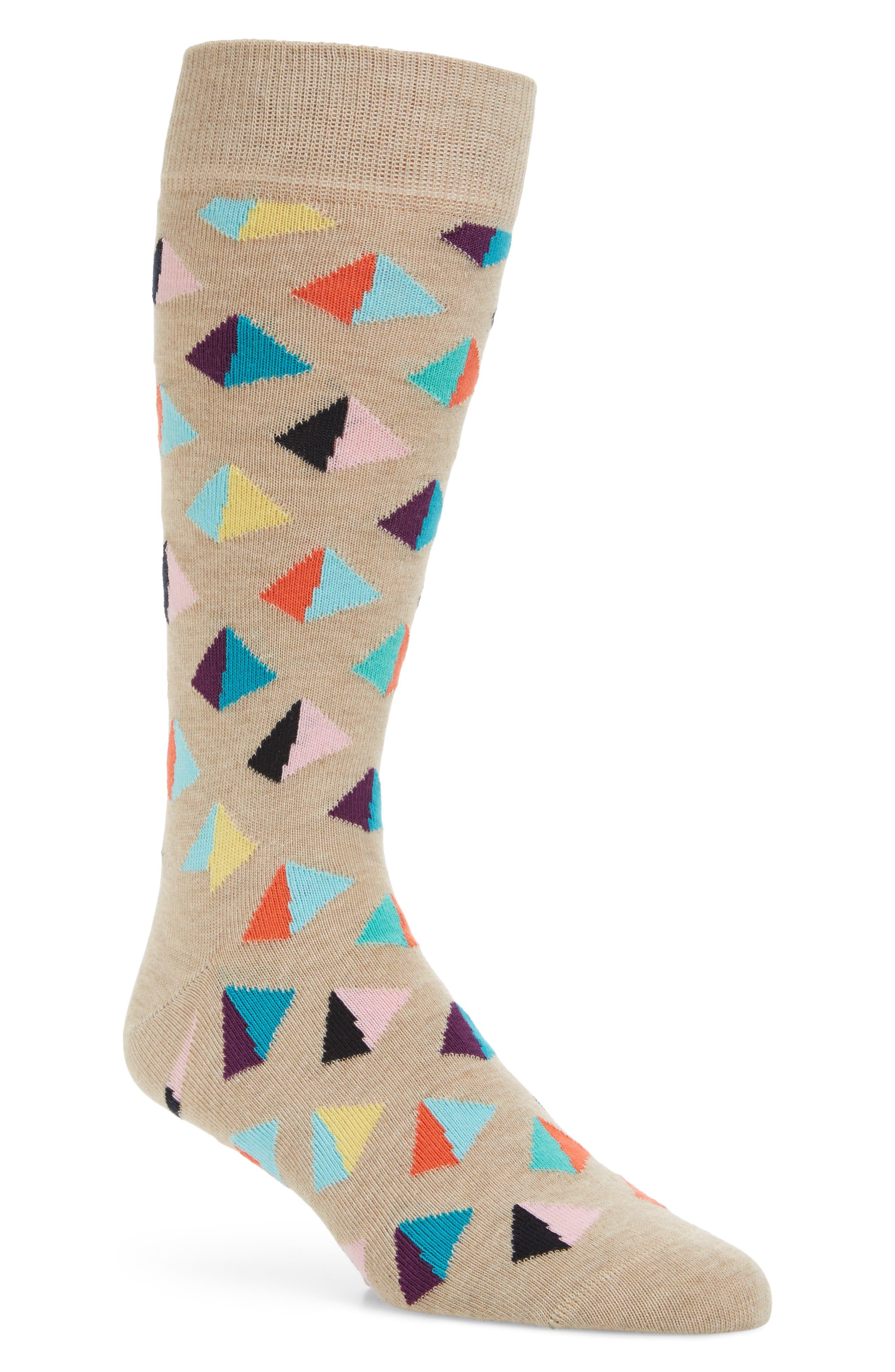 Pyramid Crew Socks,                         Main,                         color, Light Beige