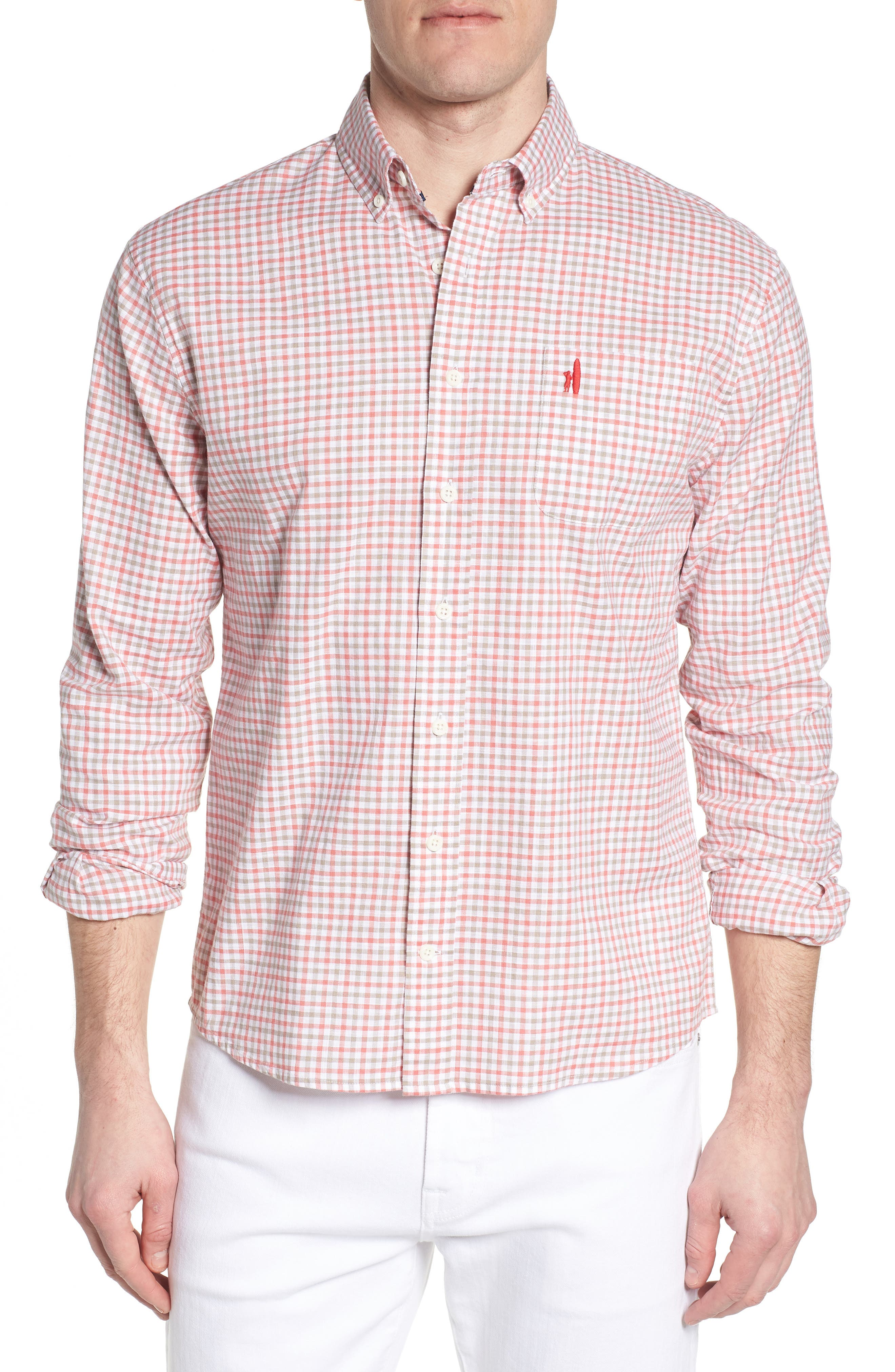 Driscoll Regular Fit Sport Shirt,                             Main thumbnail 1, color,                             Malibu Red