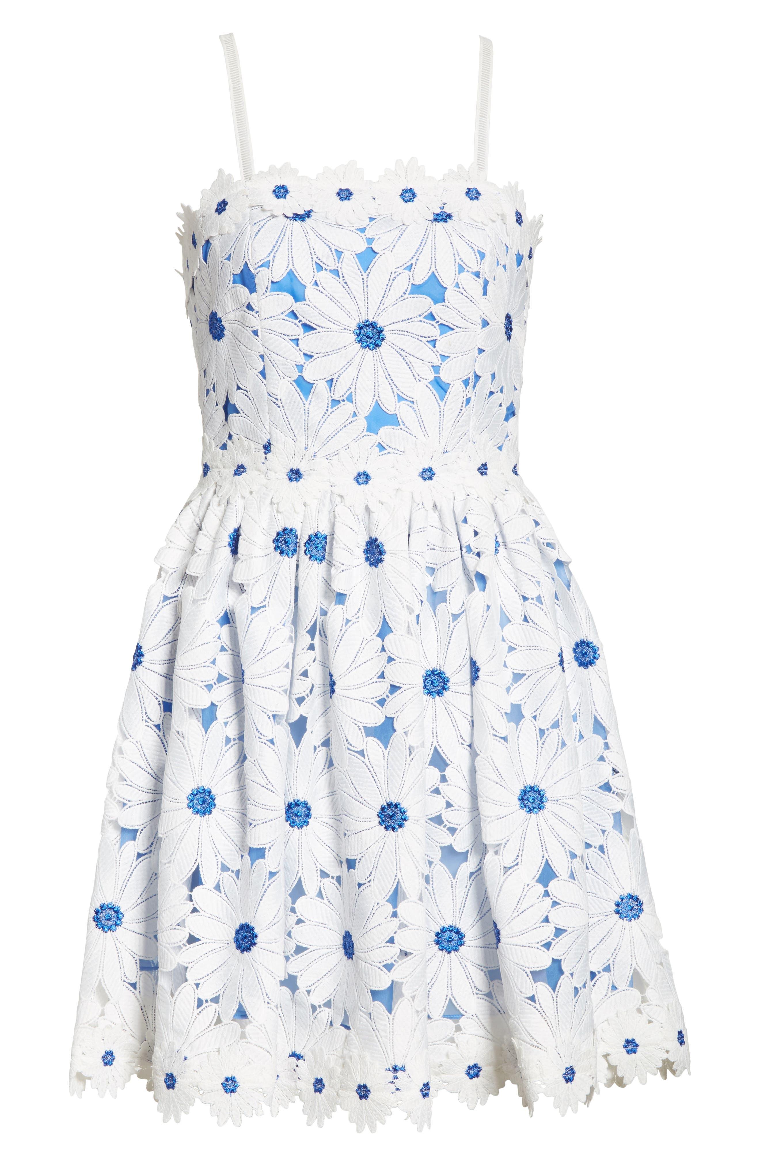Vandy Lace Minidress,                             Alternate thumbnail 6, color,                             White/ Blue