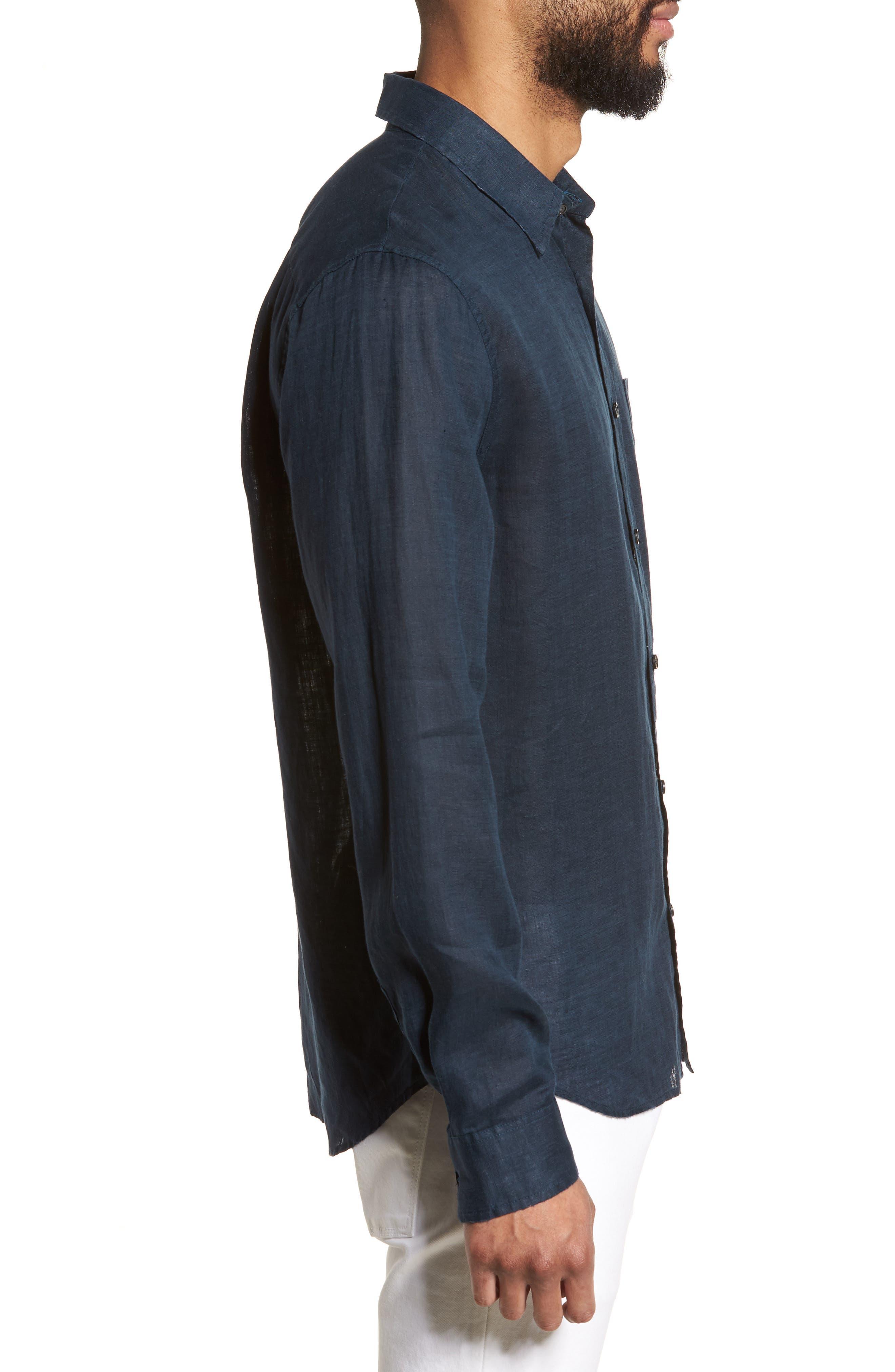 Washed Slim Fit Linen Sport Shirt,                             Alternate thumbnail 3, color,                             Mechanic Blue