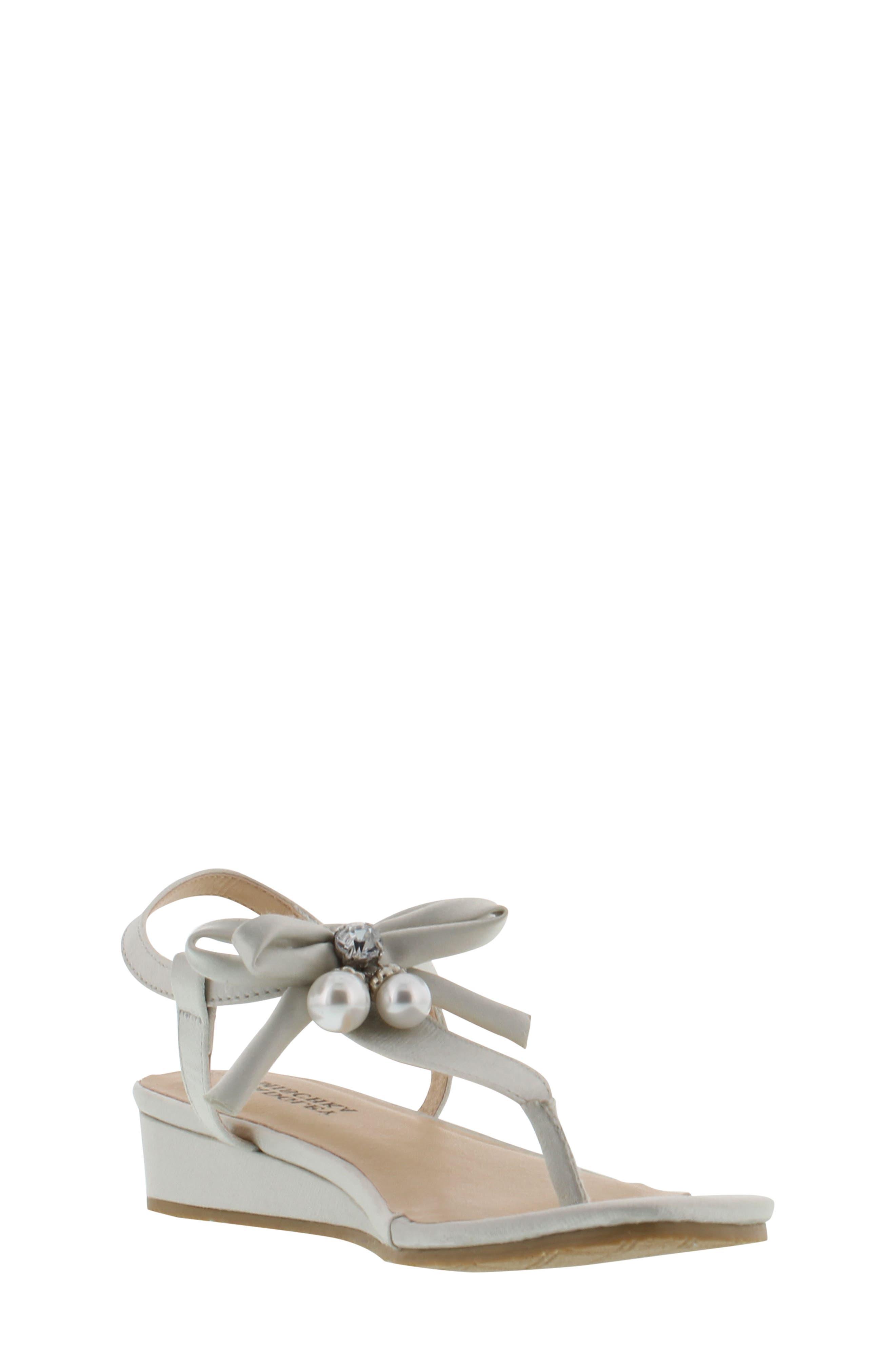 Talia Embellished Bow Sandal,                             Main thumbnail 1, color,                             Silver