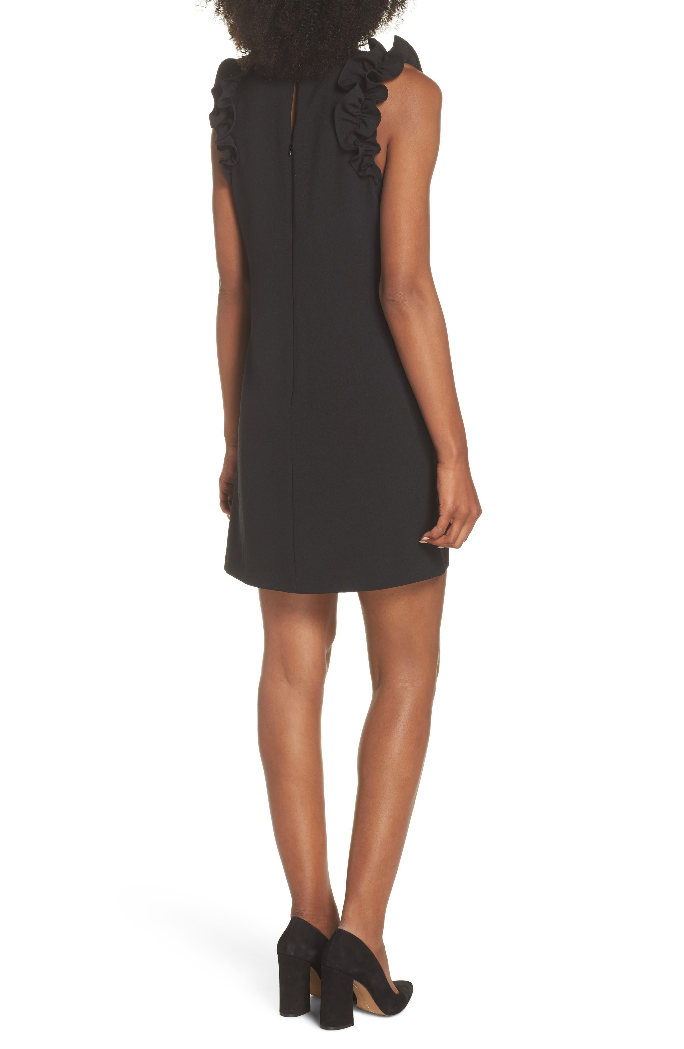 Ruffle Shoulder Crepe Shift Dress,                             Alternate thumbnail 2, color,                             Black