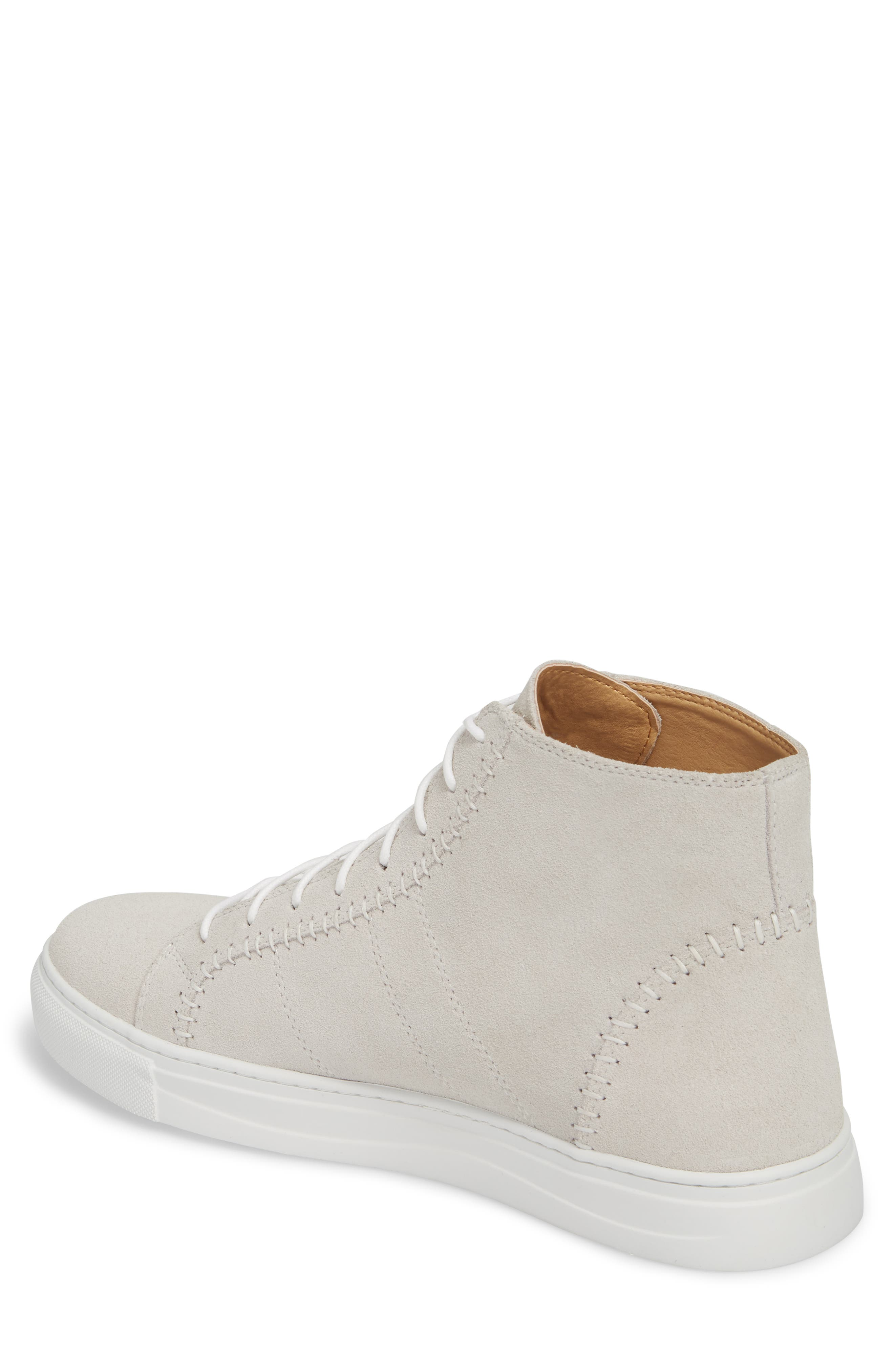 High Top Sneaker,                             Alternate thumbnail 2, color,                             White Suede