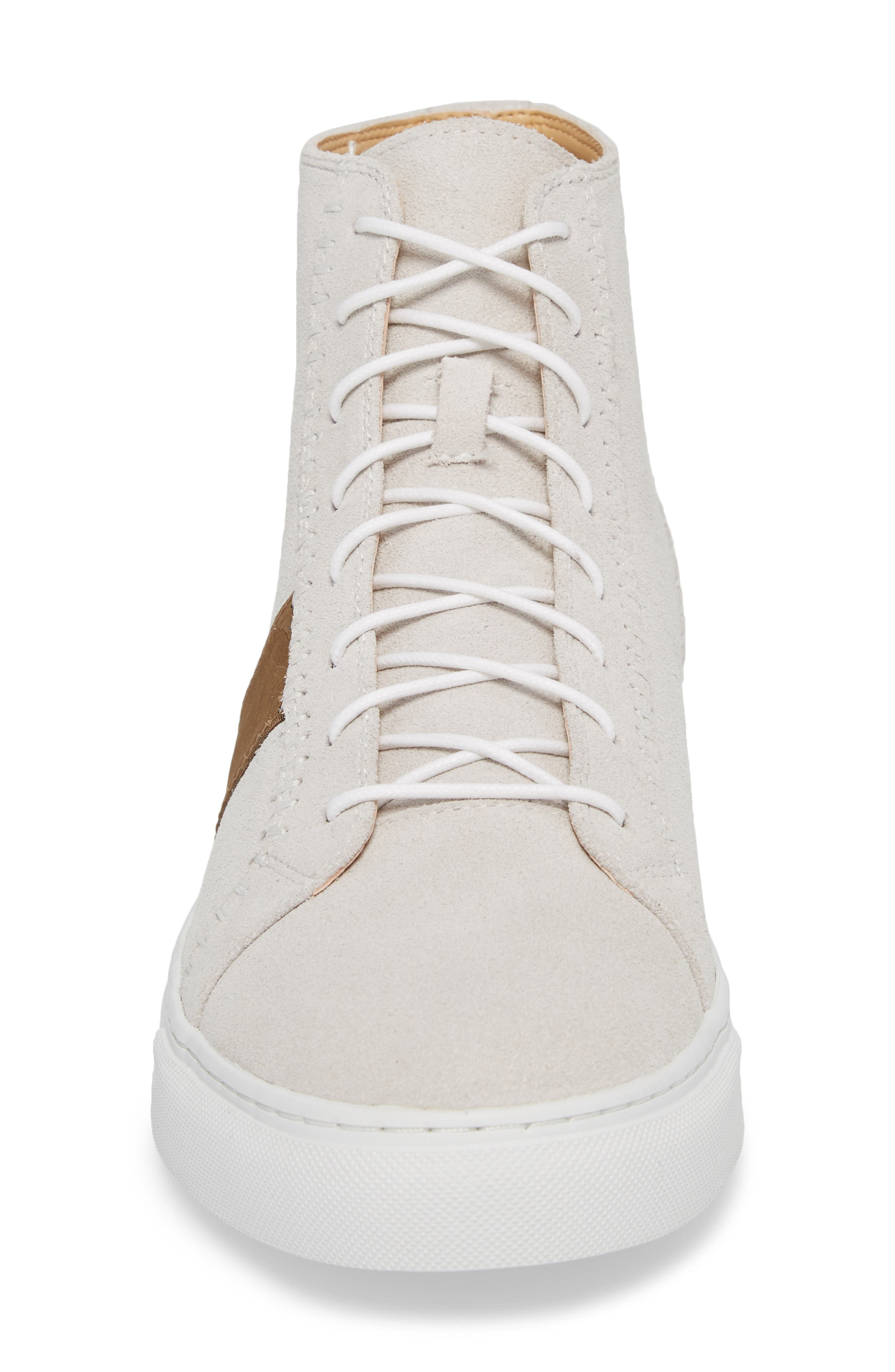 High Top Sneaker,                             Alternate thumbnail 4, color,                             White Suede